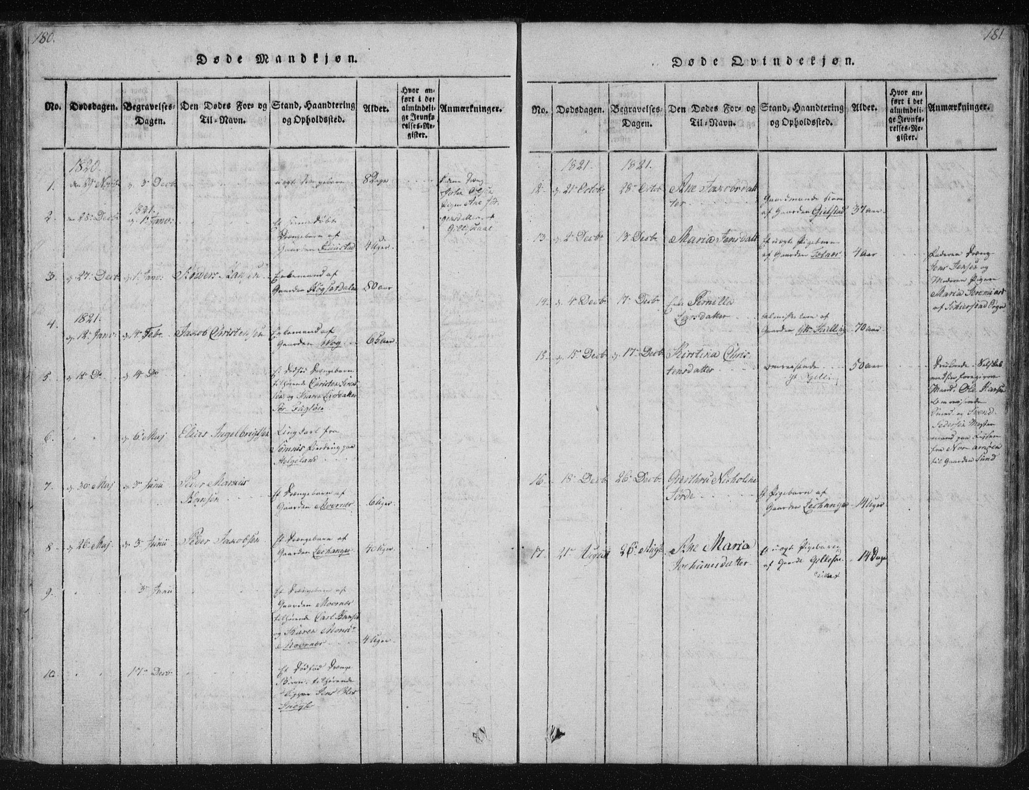SAT, Ministerialprotokoller, klokkerbøker og fødselsregistre - Nordland, 805/L0096: Ministerialbok nr. 805A03, 1820-1837, s. 180-181