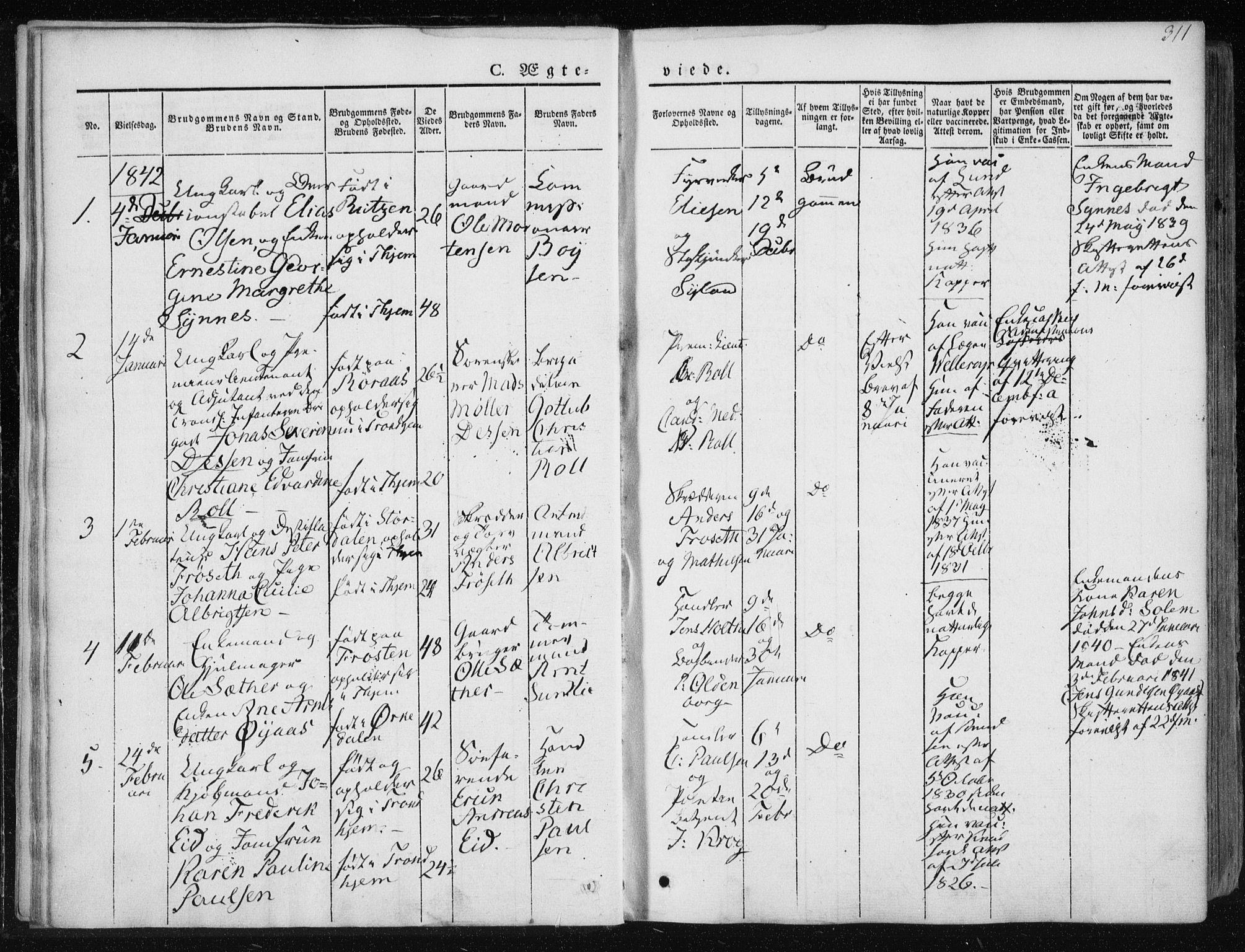 SAT, Ministerialprotokoller, klokkerbøker og fødselsregistre - Sør-Trøndelag, 601/L0049: Ministerialbok nr. 601A17, 1839-1847, s. 311