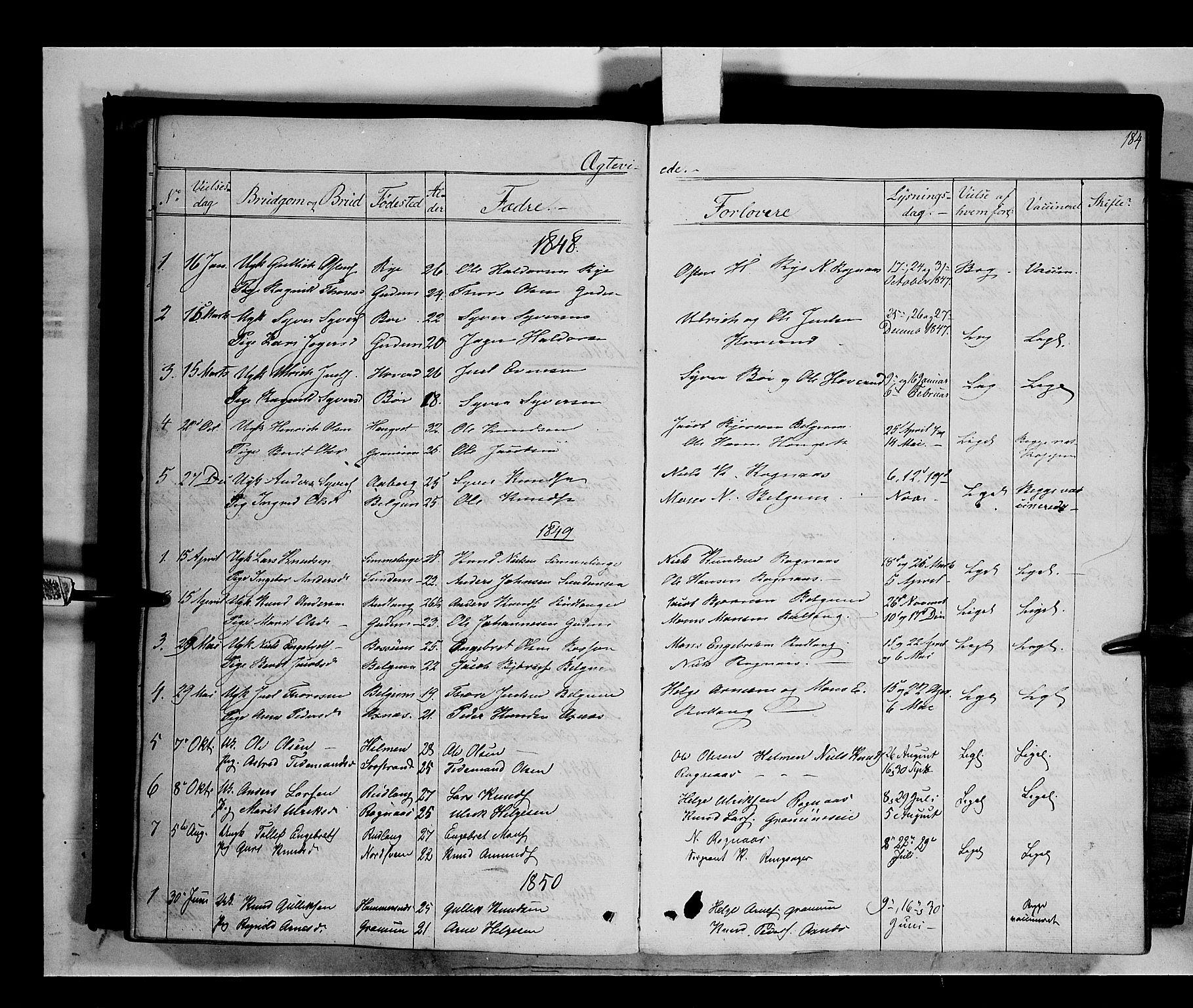 SAH, Nord-Aurdal prestekontor, Ministerialbok nr. 6, 1842-1863, s. 184