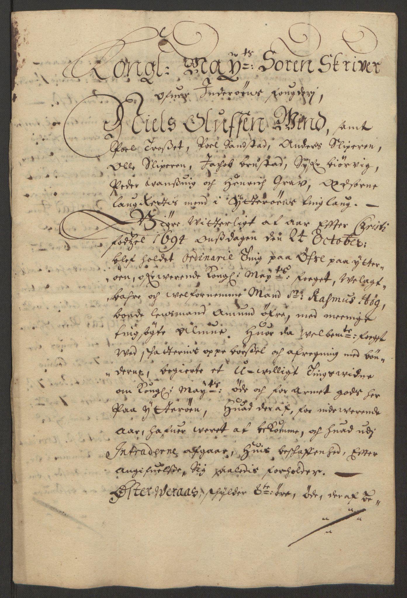 RA, Rentekammeret inntil 1814, Reviderte regnskaper, Fogderegnskap, R63/L4308: Fogderegnskap Inderøy, 1692-1694, s. 620