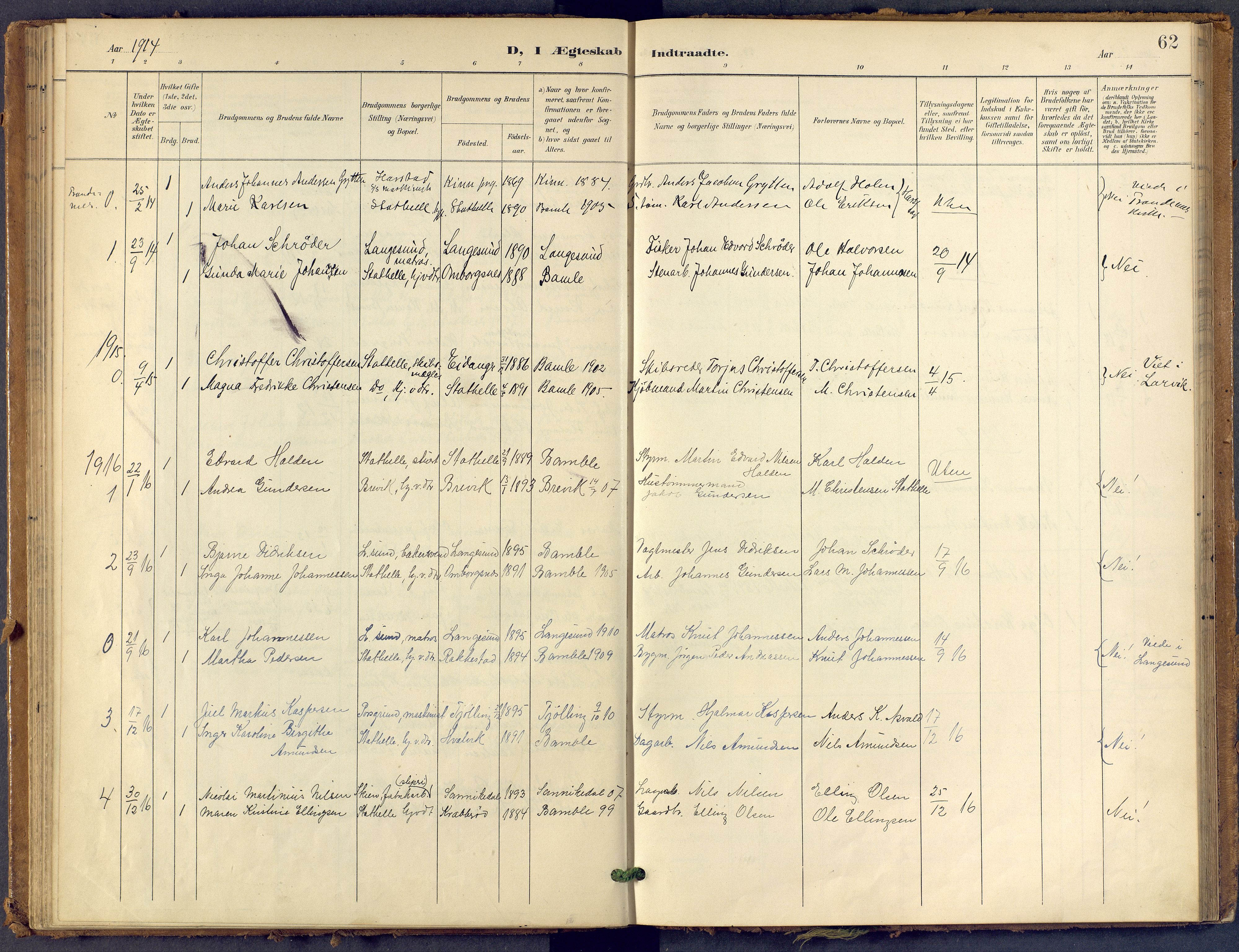 SAKO, Bamble kirkebøker, F/Fb/L0002: Ministerialbok nr. II 2, 1900-1921, s. 62