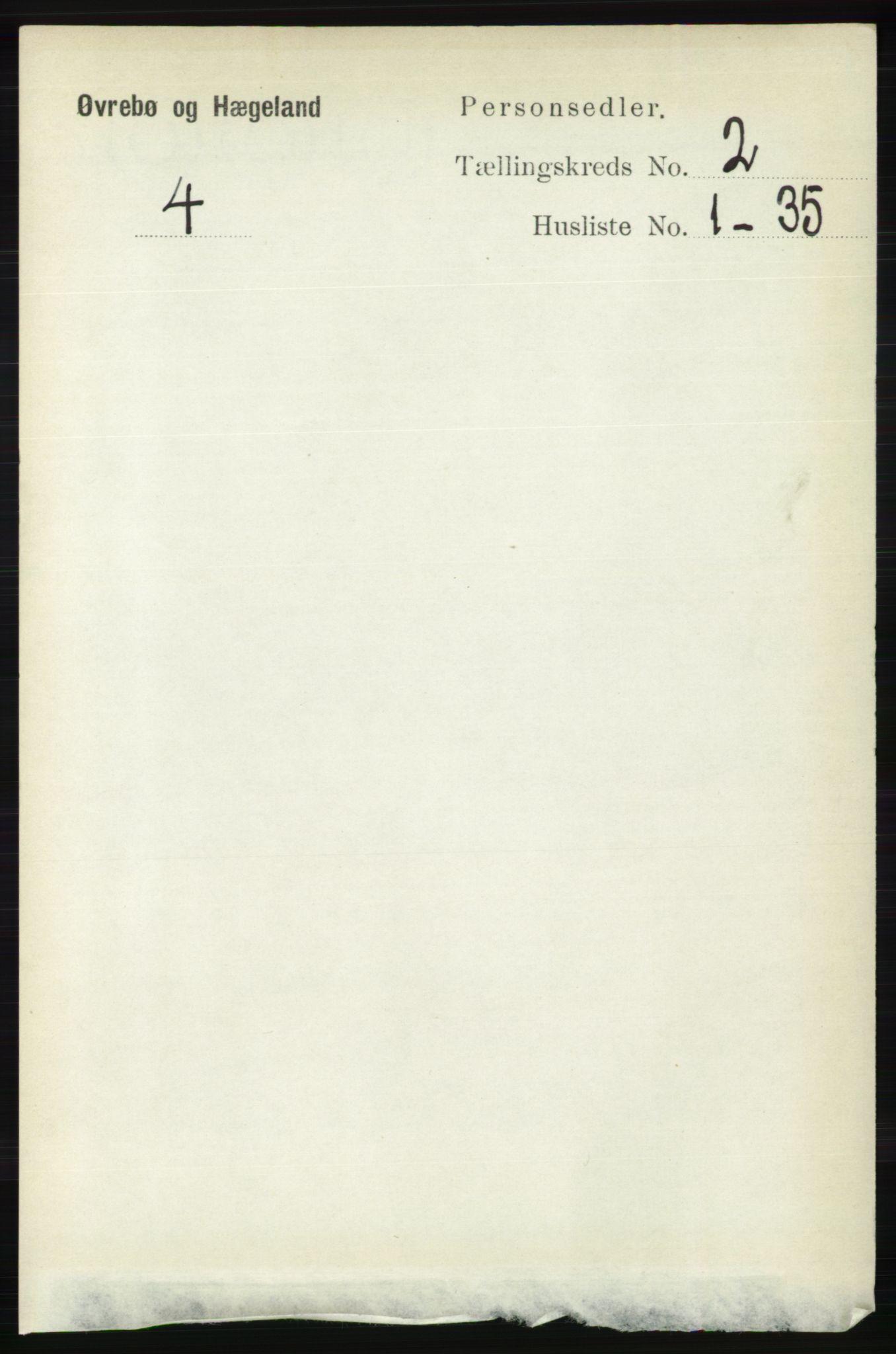 RA, Folketelling 1891 for 1016 Øvrebø og Hægeland herred, 1891, s. 319