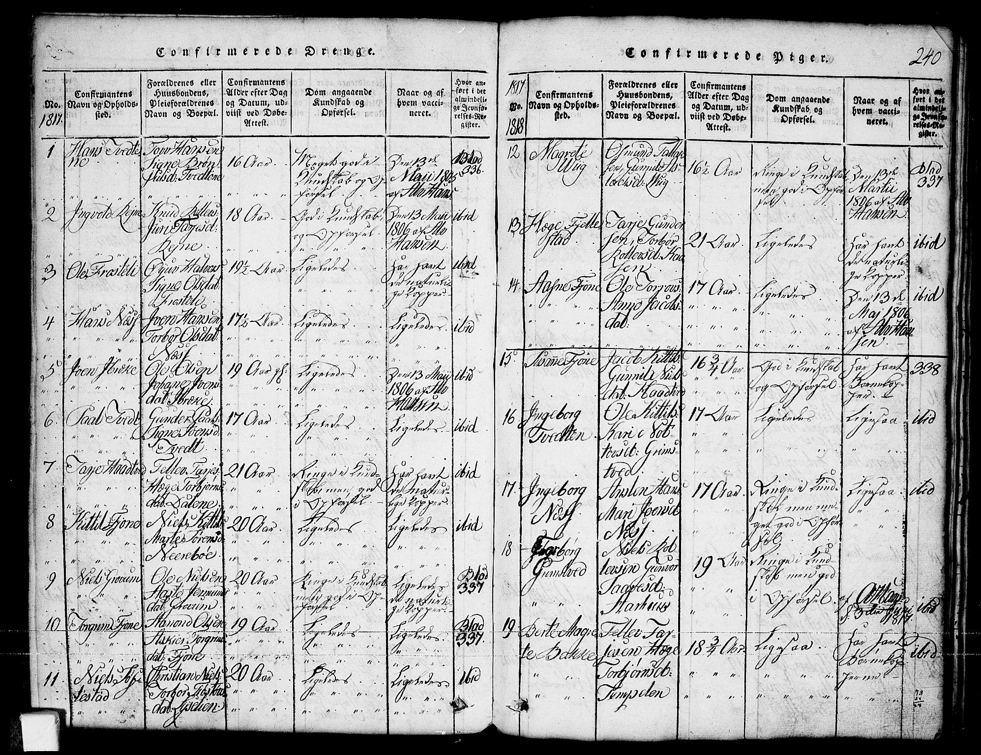 SAKO, Nissedal kirkebøker, G/Ga/L0001: Klokkerbok nr. I 1, 1814-1860, s. 240