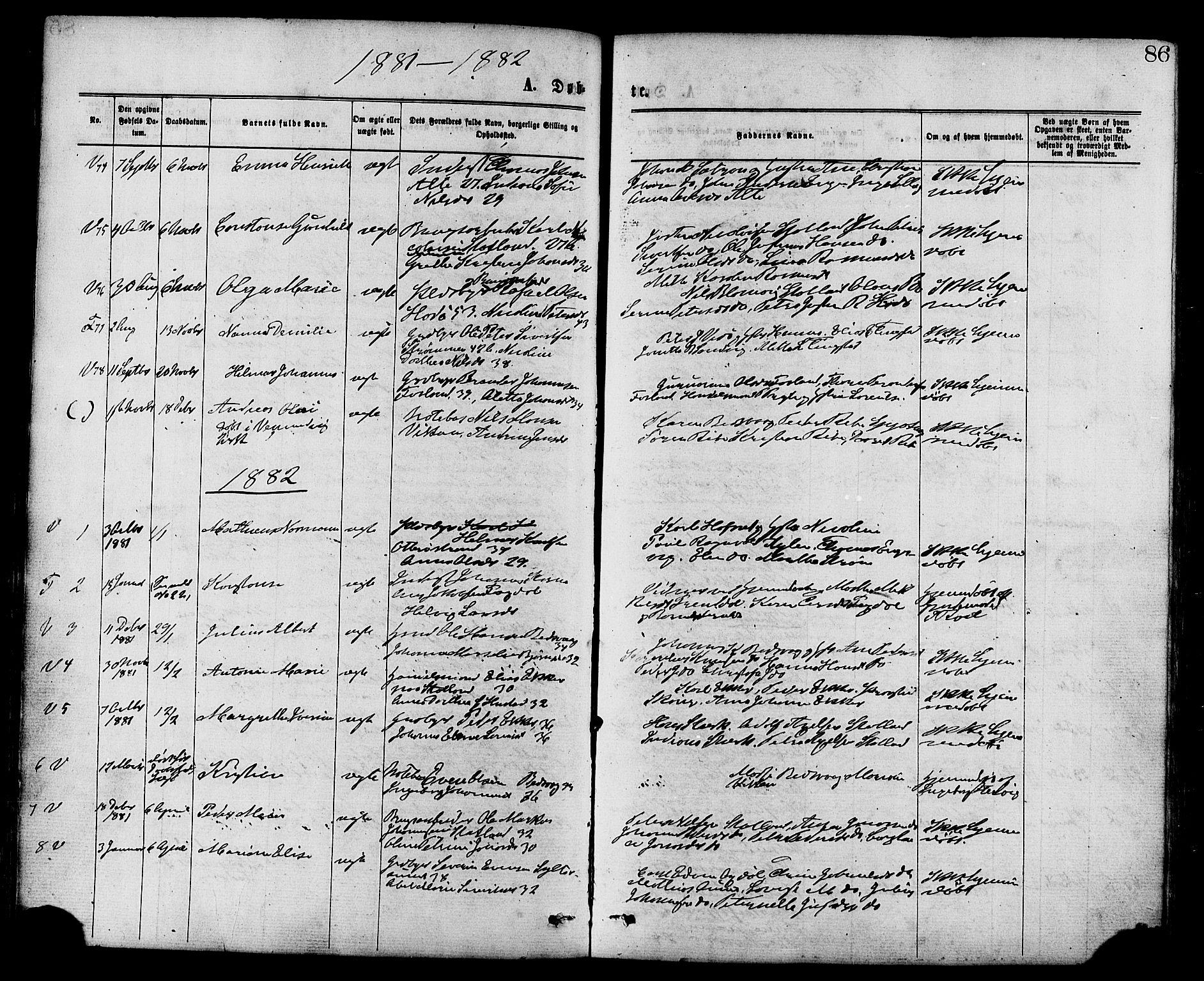 SAT, Ministerialprotokoller, klokkerbøker og fødselsregistre - Nord-Trøndelag, 773/L0616: Ministerialbok nr. 773A07, 1870-1887, s. 86