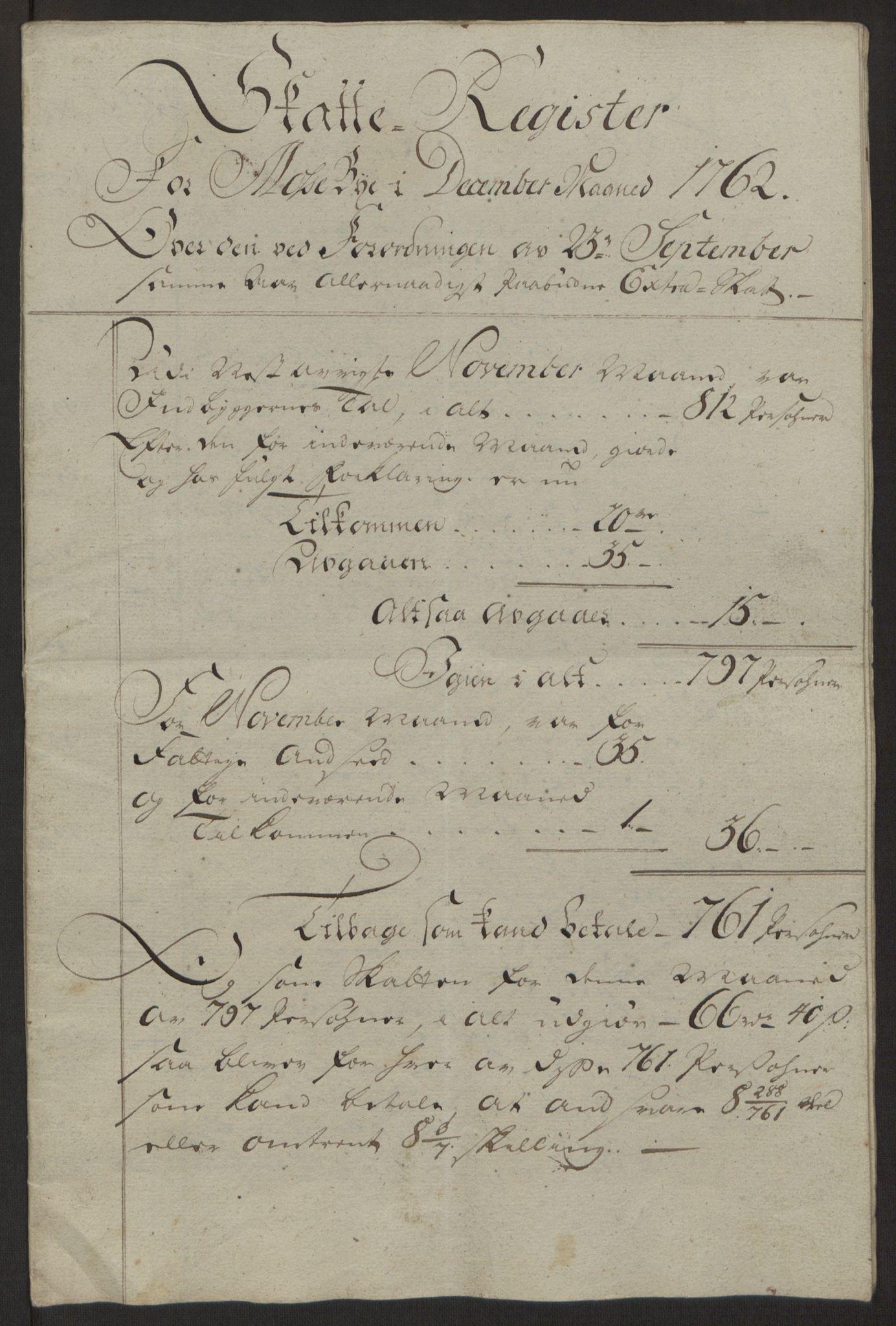 RA, Rentekammeret inntil 1814, Reviderte regnskaper, Byregnskaper, R/Rc/L0042: [C1] Kontribusjonsregnskap, 1762-1765, s. 45