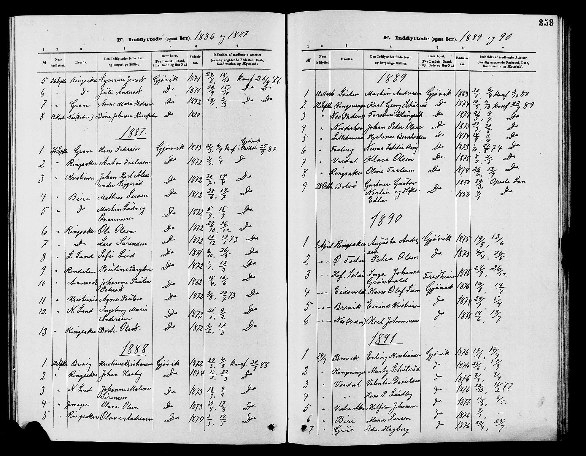 SAH, Vardal prestekontor, H/Ha/Hab/L0007: Klokkerbok nr. 7 /2, 1881-1895, s. 353