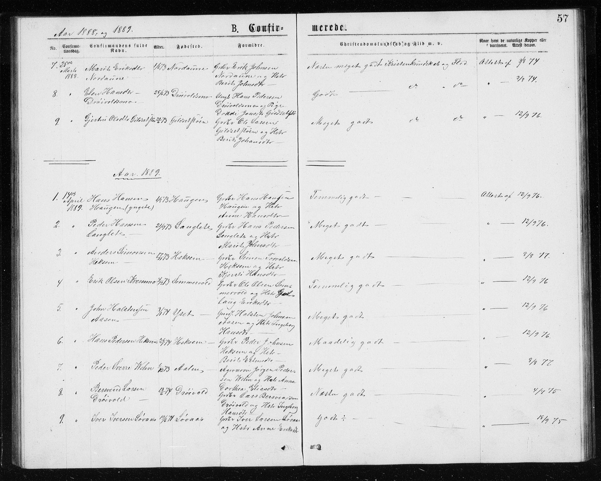 SAT, Ministerialprotokoller, klokkerbøker og fødselsregistre - Sør-Trøndelag, 685/L0977: Klokkerbok nr. 685C02, 1879-1890, s. 57