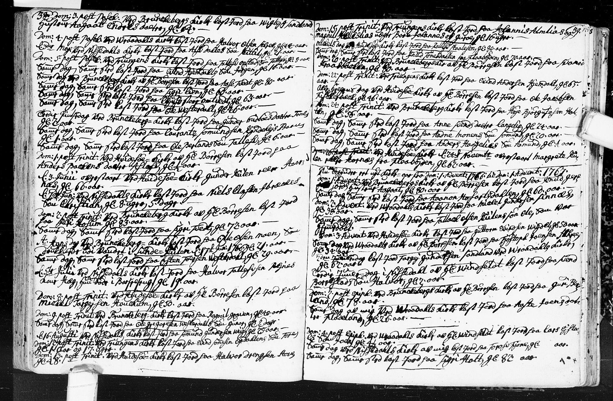 SAKO, Kviteseid kirkebøker, F/Fa/L0001: Ministerialbok nr. I 1, 1754-1773, s. 38-39