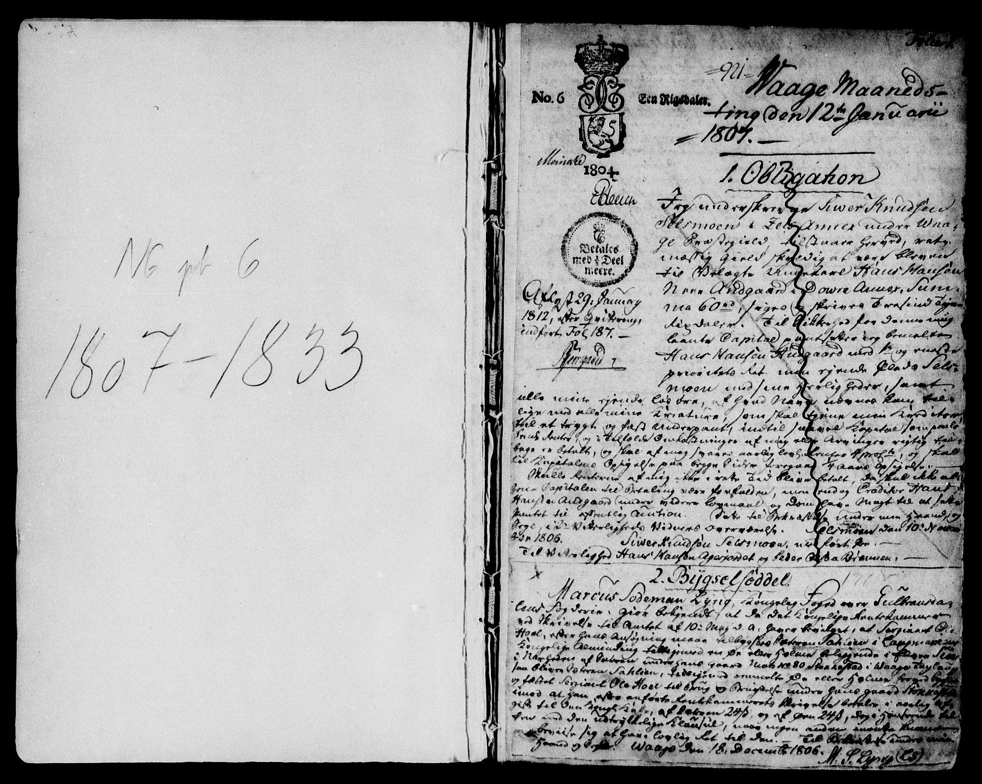 SAH, Nord-Gudbrandsdal tingrett, H/Hb/Hba/L0005: Pantebok nr. 5, 1807-1833, s. 1