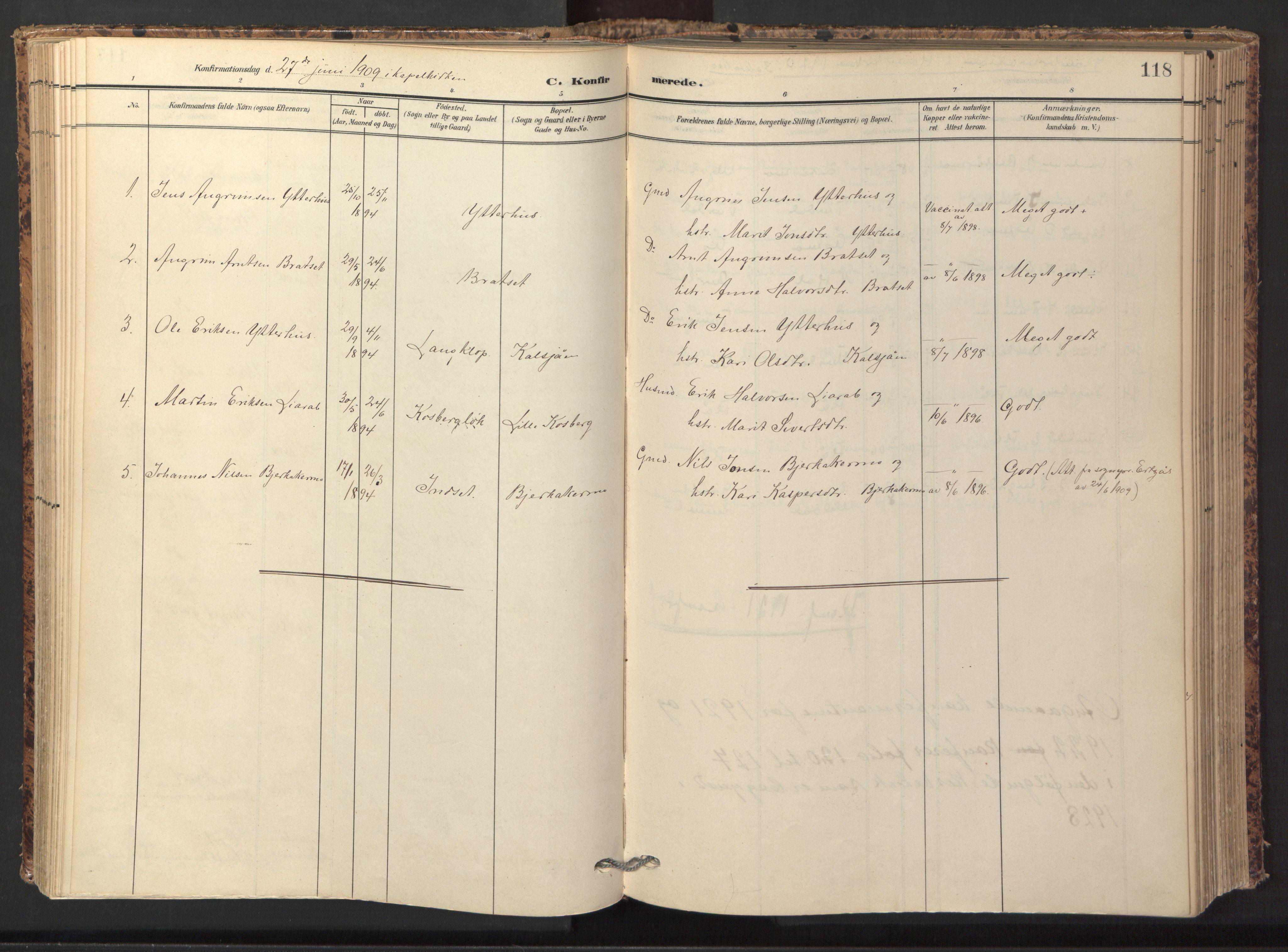 SAT, Ministerialprotokoller, klokkerbøker og fødselsregistre - Sør-Trøndelag, 674/L0873: Ministerialbok nr. 674A05, 1908-1923, s. 118