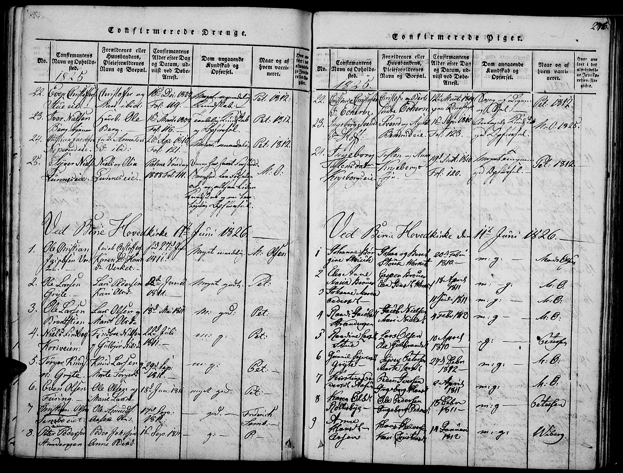 SAH, Biri prestekontor, Ministerialbok nr. 3, 1814-1828, s. 276