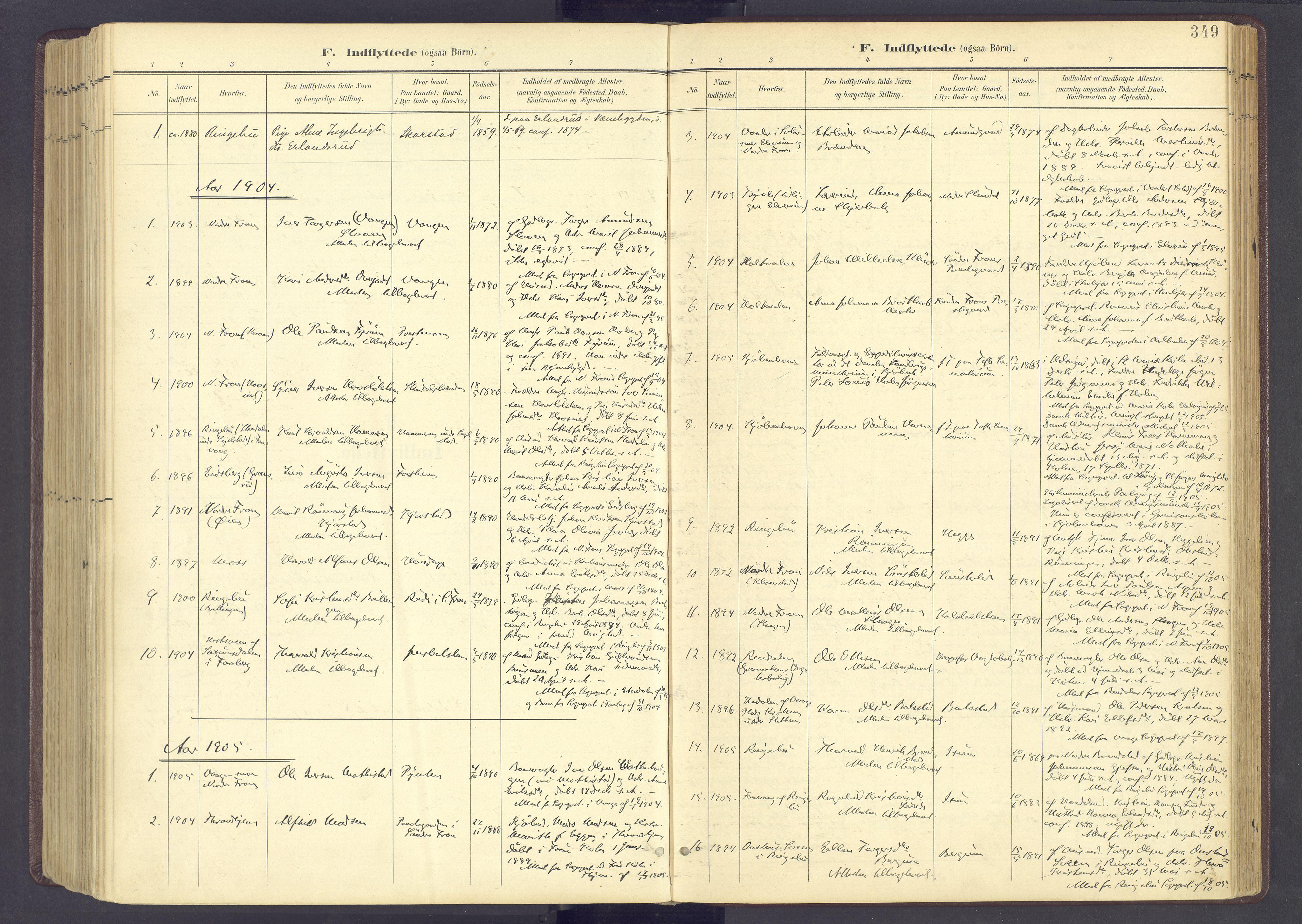 SAH, Sør-Fron prestekontor, H/Ha/Haa/L0004: Ministerialbok nr. 4, 1898-1919, s. 349