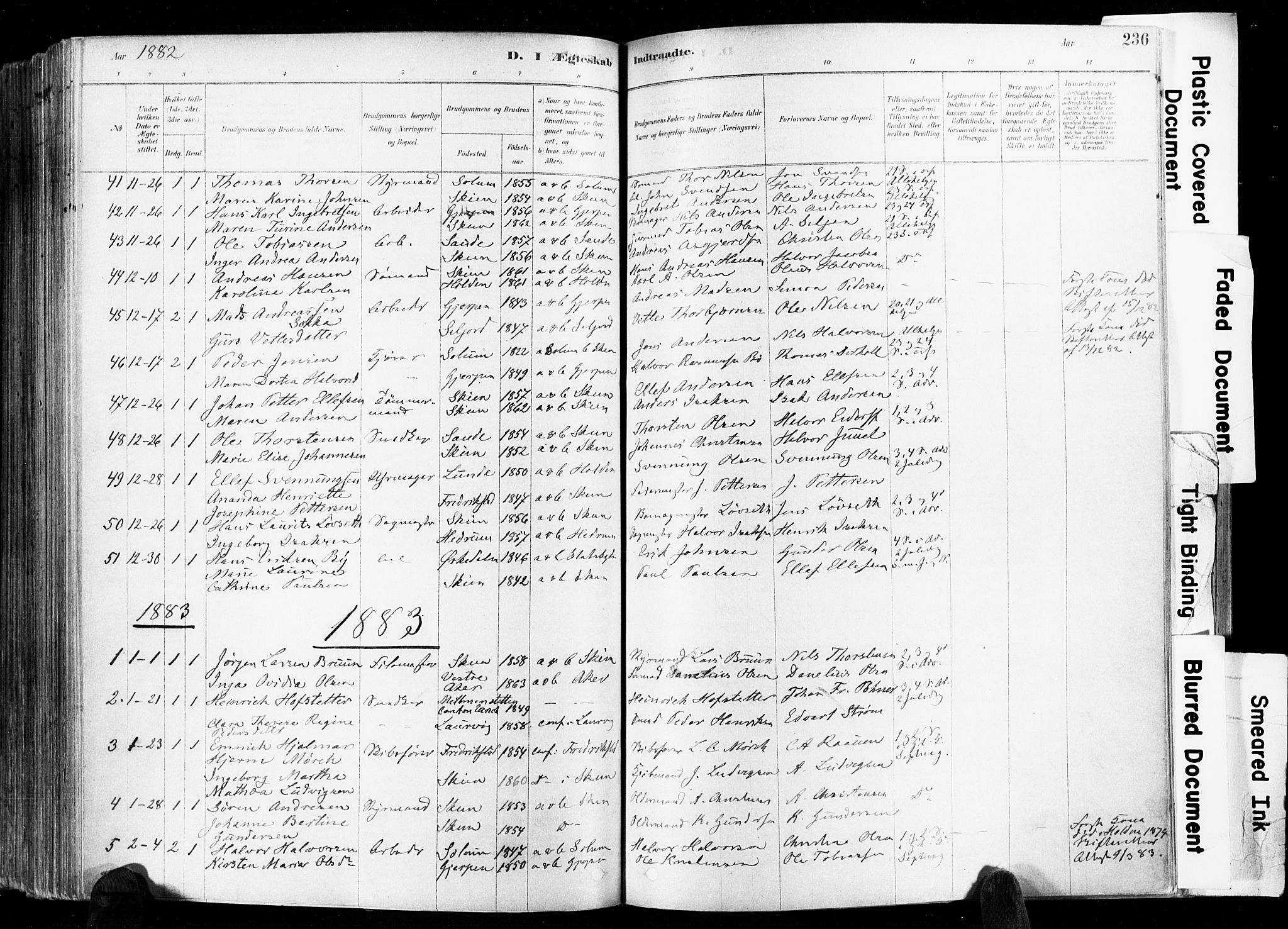 SAKO, Skien kirkebøker, F/Fa/L0009: Ministerialbok nr. 9, 1878-1890, s. 236