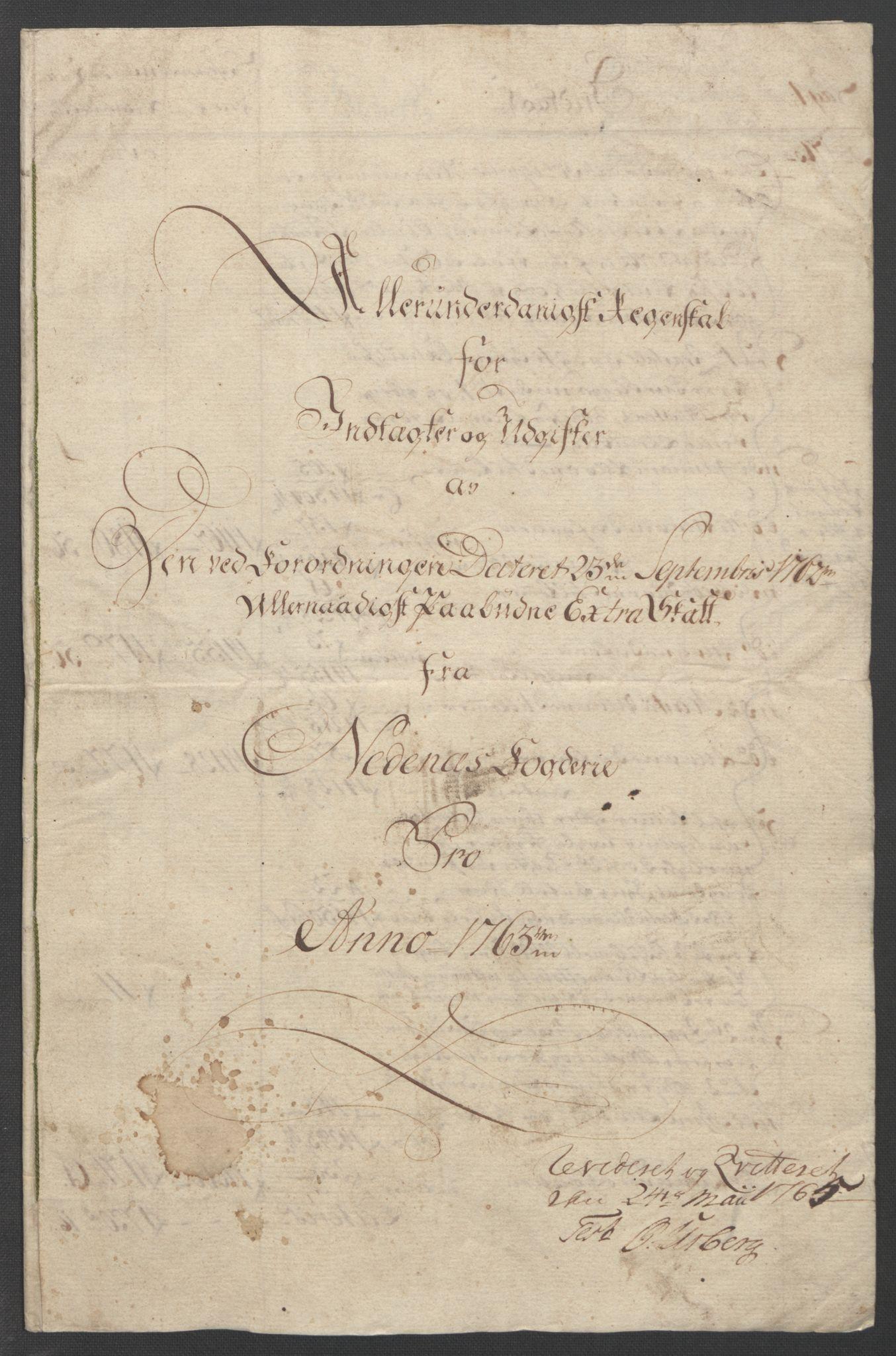 RA, Rentekammeret inntil 1814, Reviderte regnskaper, Fogderegnskap, R39/L2424: Ekstraskatten Nedenes, 1762-1767, s. 22