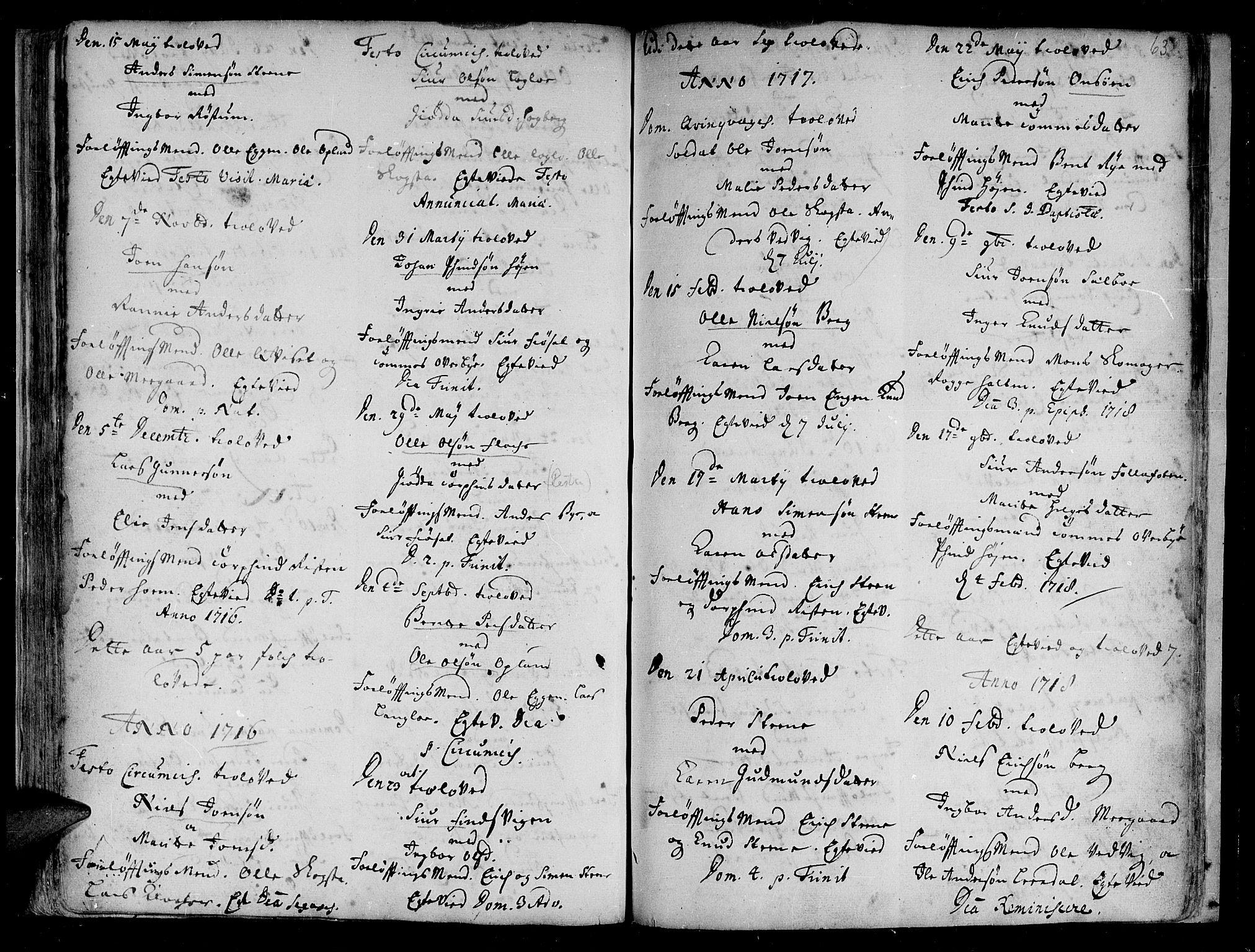 SAT, Ministerialprotokoller, klokkerbøker og fødselsregistre - Sør-Trøndelag, 612/L0368: Ministerialbok nr. 612A02, 1702-1753, s. 63