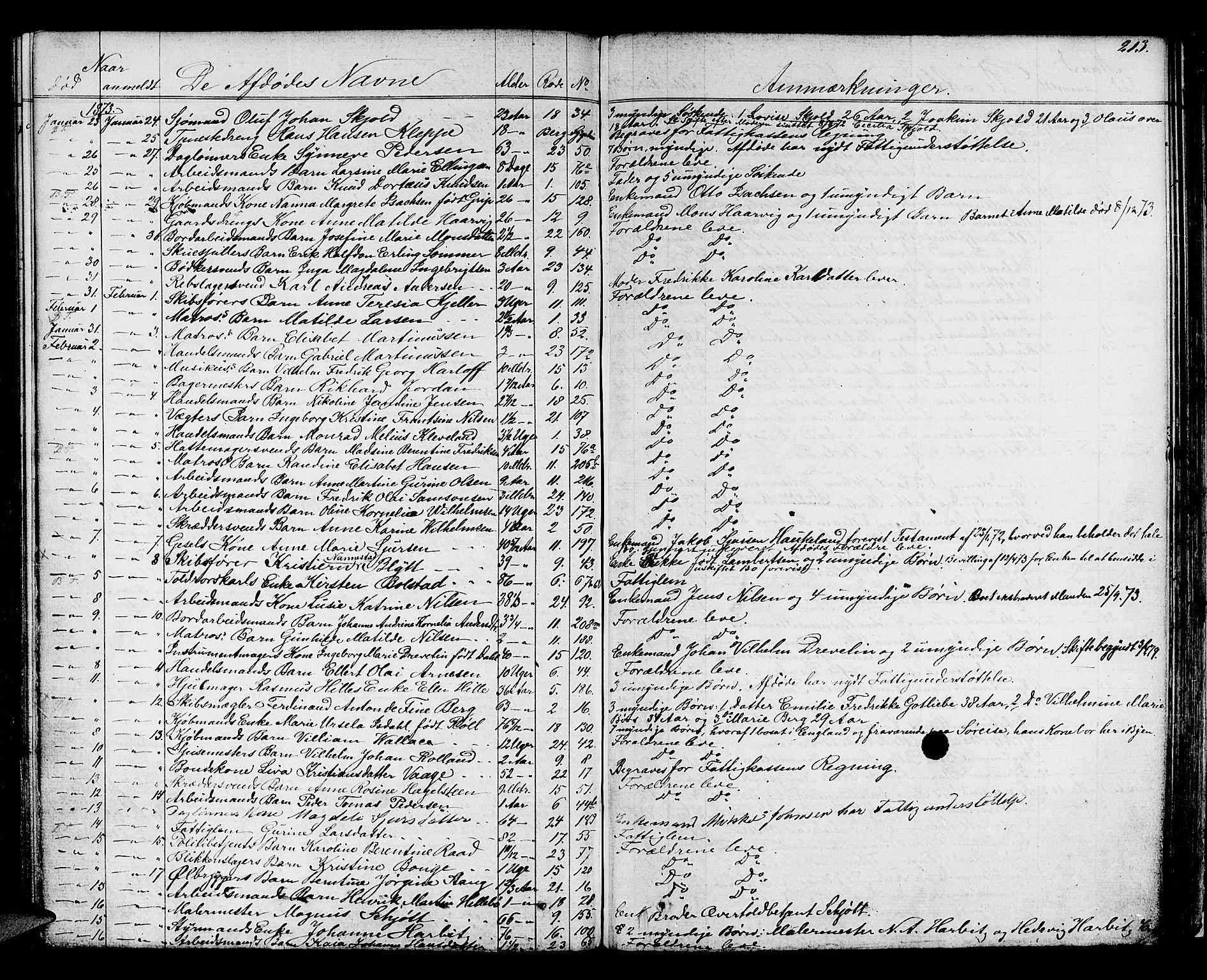 SAB, Byfogd og Byskriver i Bergen, 06/06Na/L0003: Dødsfallsjournaler, 1861-1878, s. 212b-213a