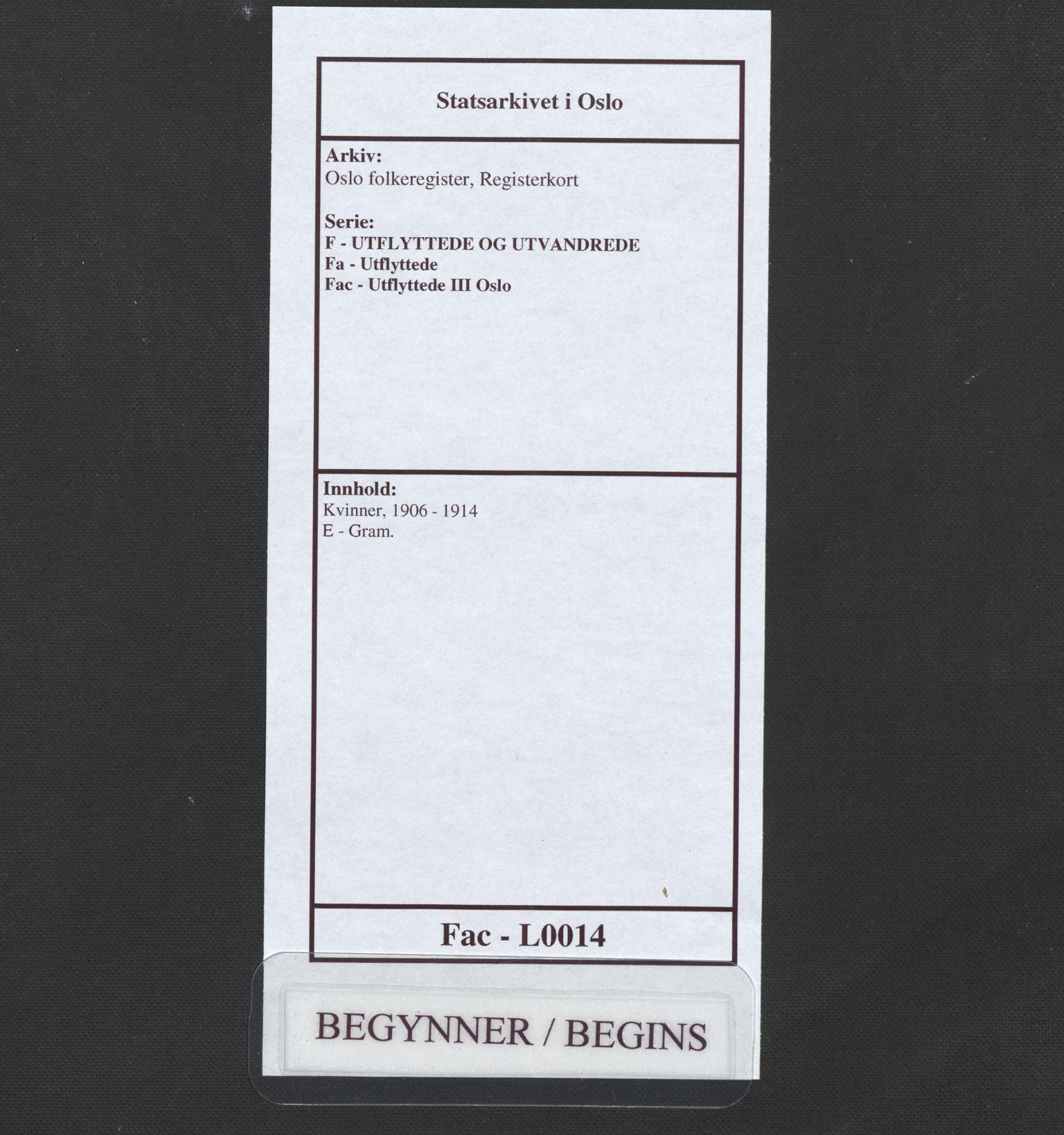 SAO, Oslo folkeregister, Registerkort, F/Fa/Fac/L0014: Kvinner, 1906-1914