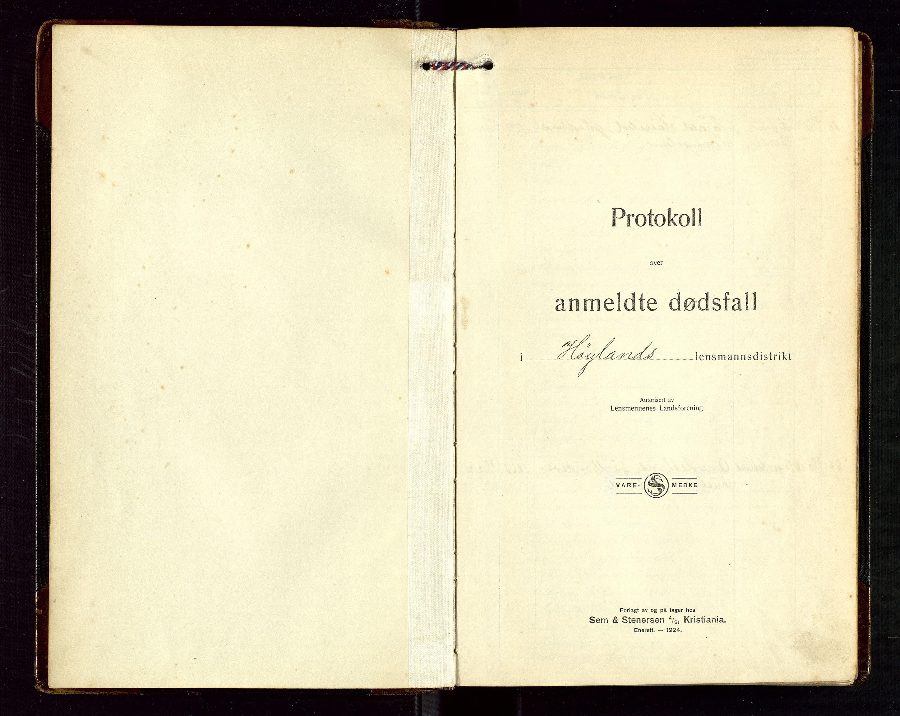"""SAST, Høyland/Sandnes lensmannskontor, Gga/L0006: """"Protkokoll over anmeldte dødsfall i Høylands lensmandsdistrikt"""", 1926-1937"""