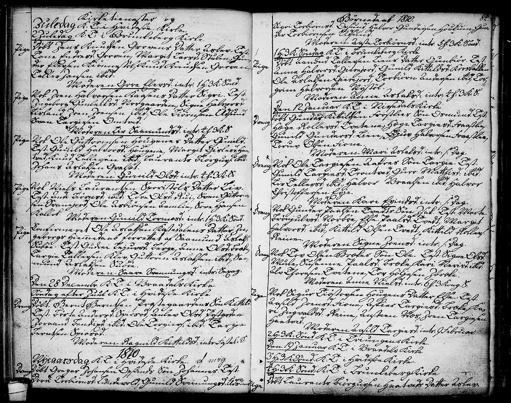 SAKO, Kviteseid kirkebøker, F/Fa/L0004: Ministerialbok nr. I 4, 1800-1814, s. 84