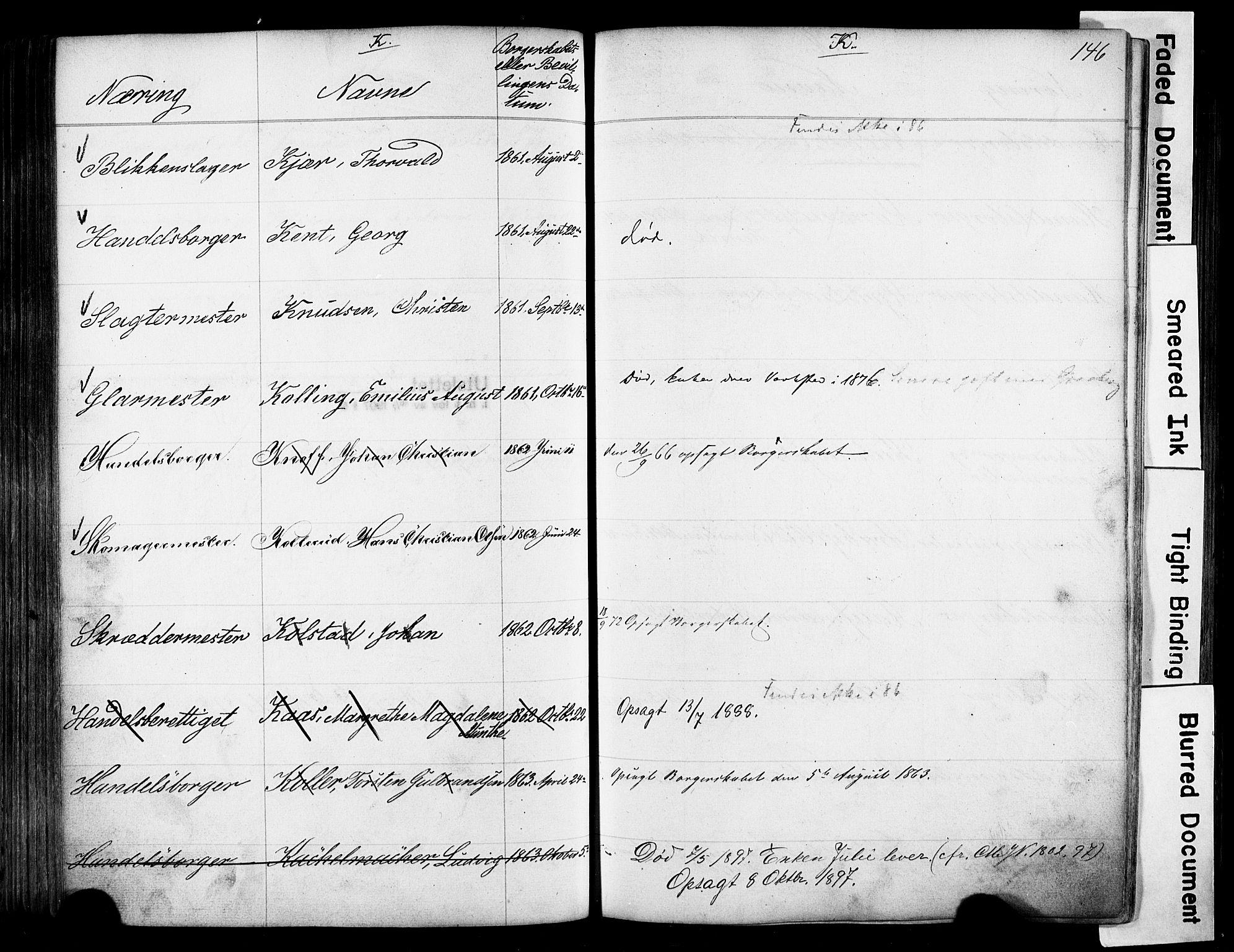 SAO, Kristiania magistrat, F/Fb/L0004: Borgerrulle, 1860-1879, s. 148