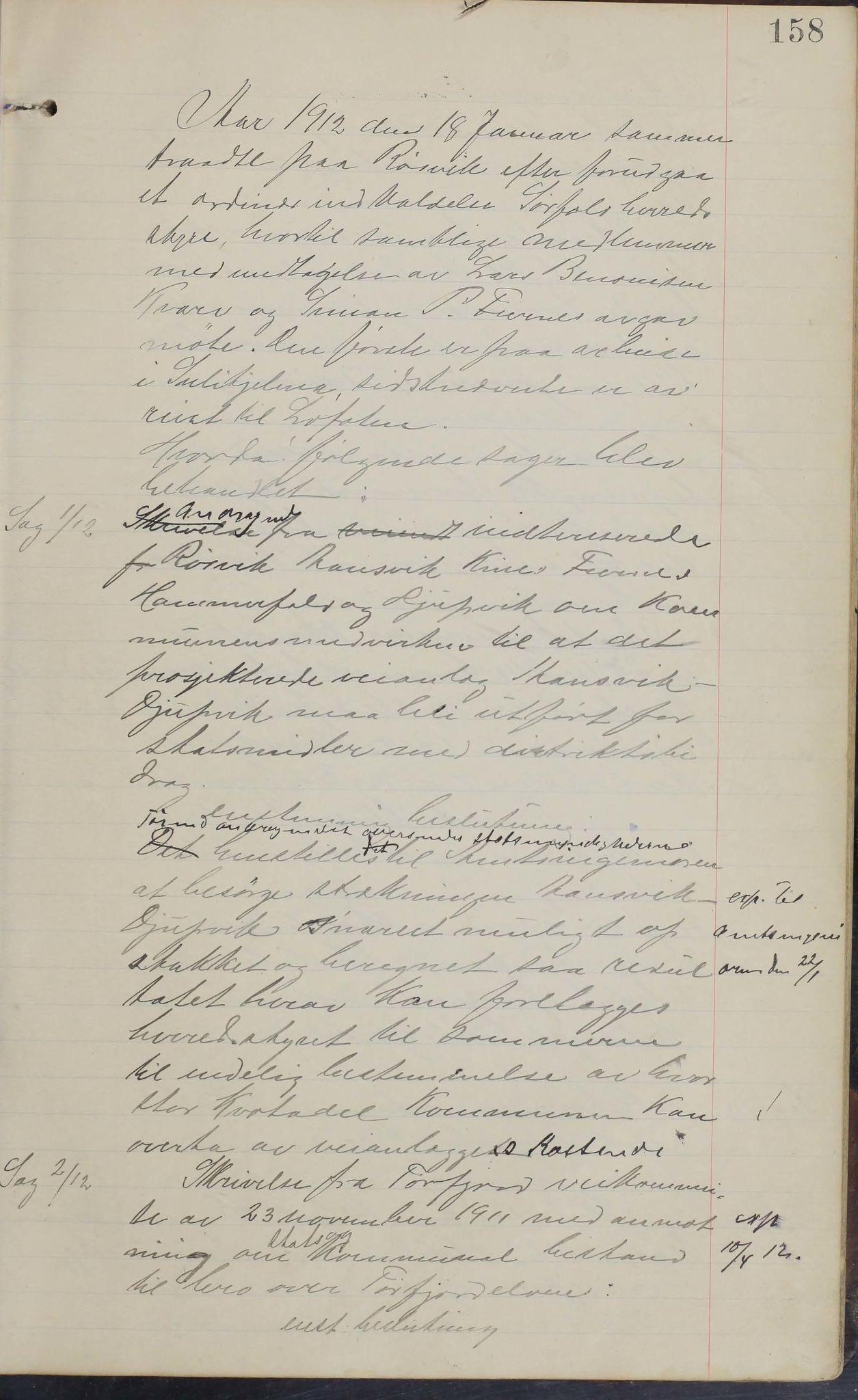 AIN, Sørfold kommune. Formannskap, 100/L0002: Forhandlingsprotokol for Sørfoldens formandskab, 1902-1913, s. 158