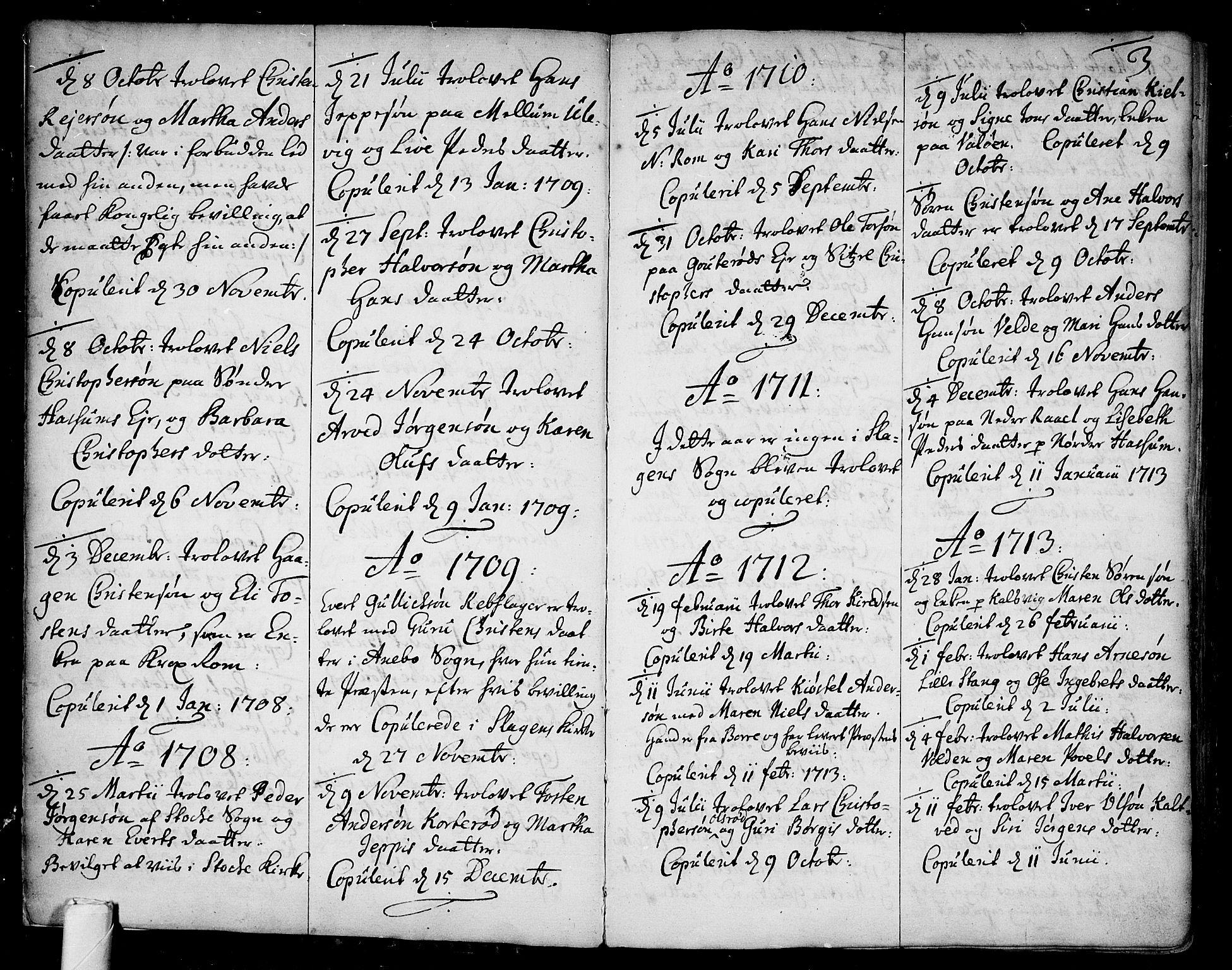 SAKO, Sem kirkebøker, F/Fb/L0001: Ministerialbok nr. II 1, 1702-1764, s. 3