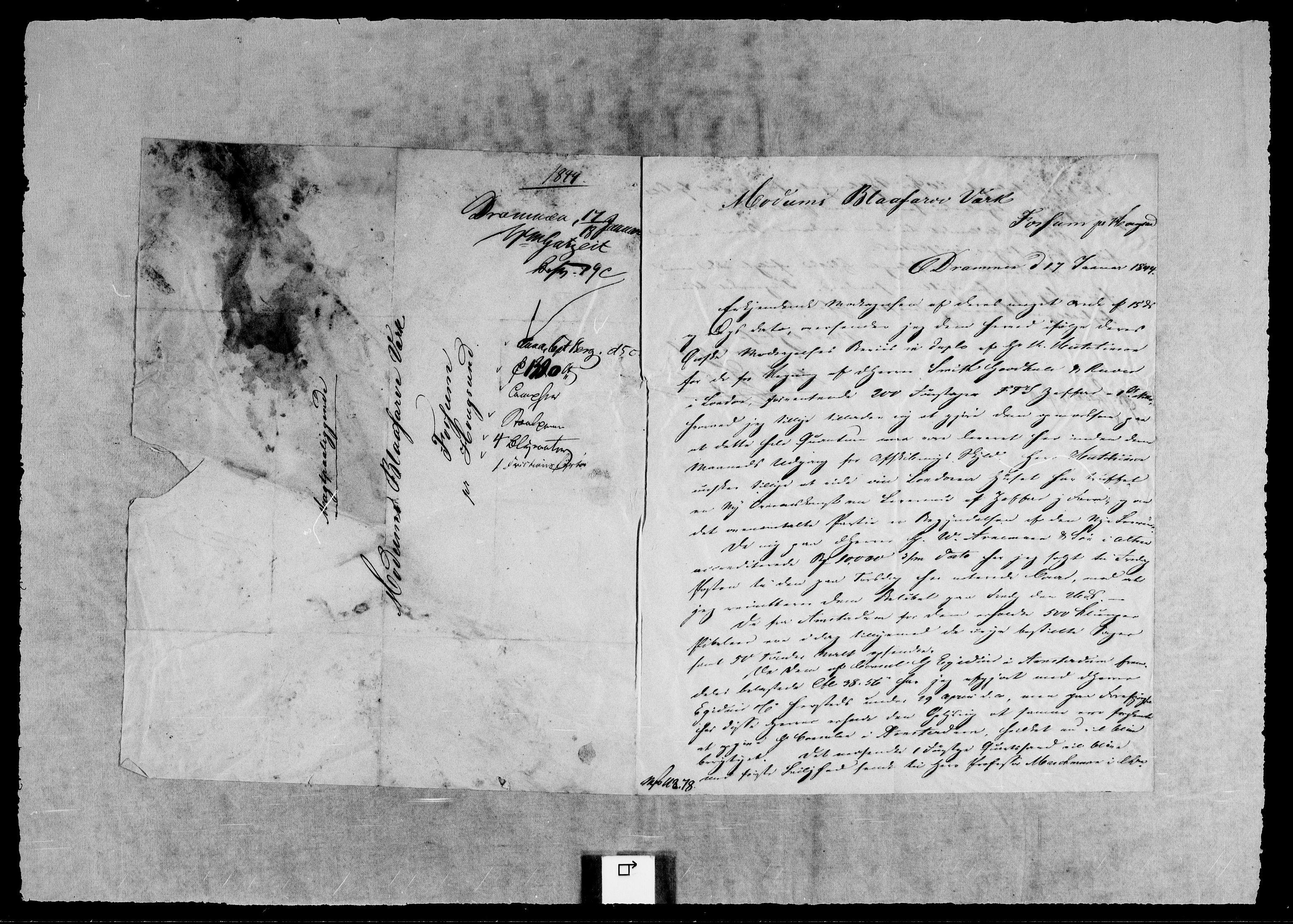 RA, Modums Blaafarveværk, G/Gb/L0129, 1844-1845, s. 2