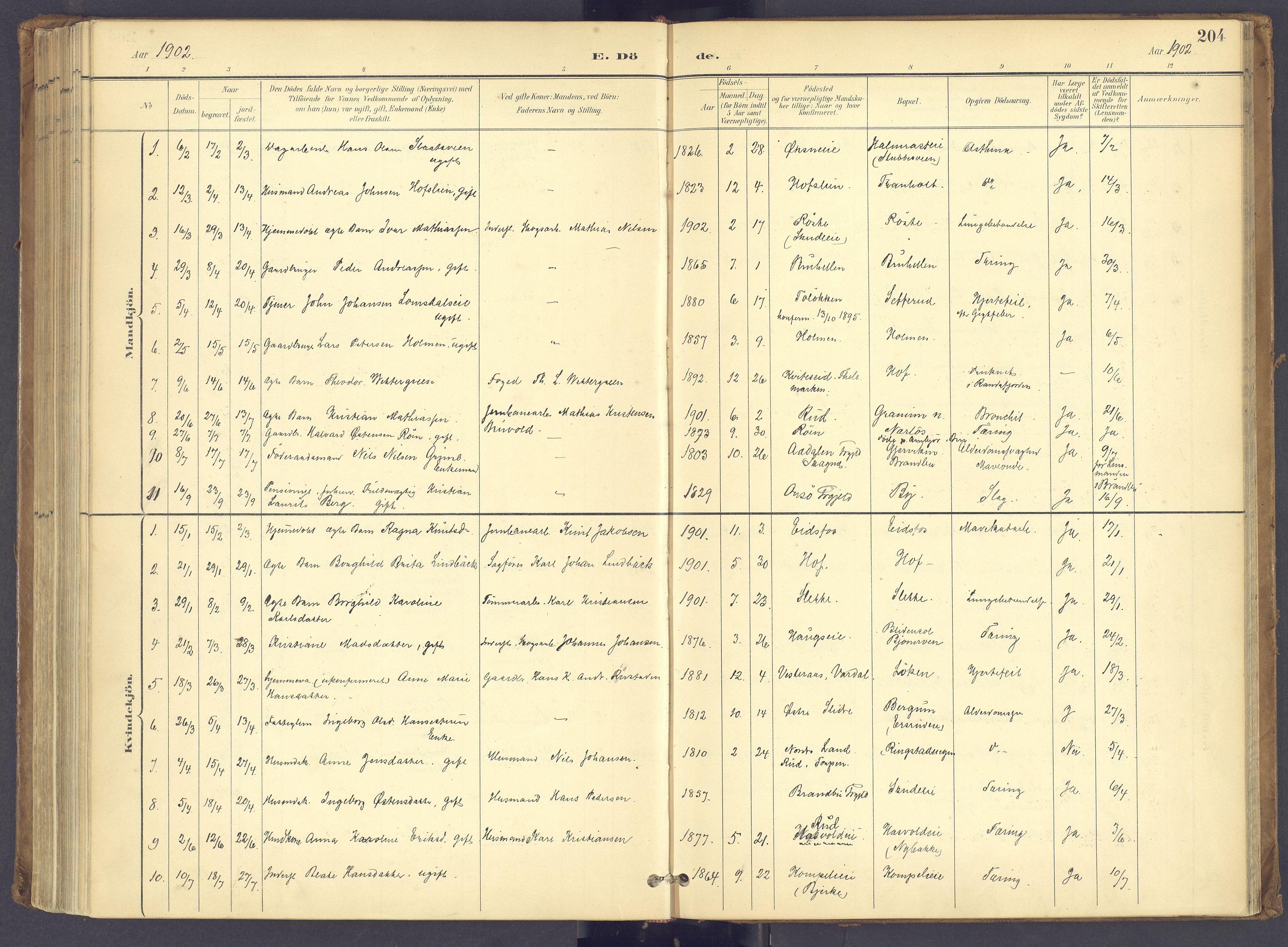 SAH, Søndre Land prestekontor, K/L0006: Ministerialbok nr. 6, 1895-1904, s. 204