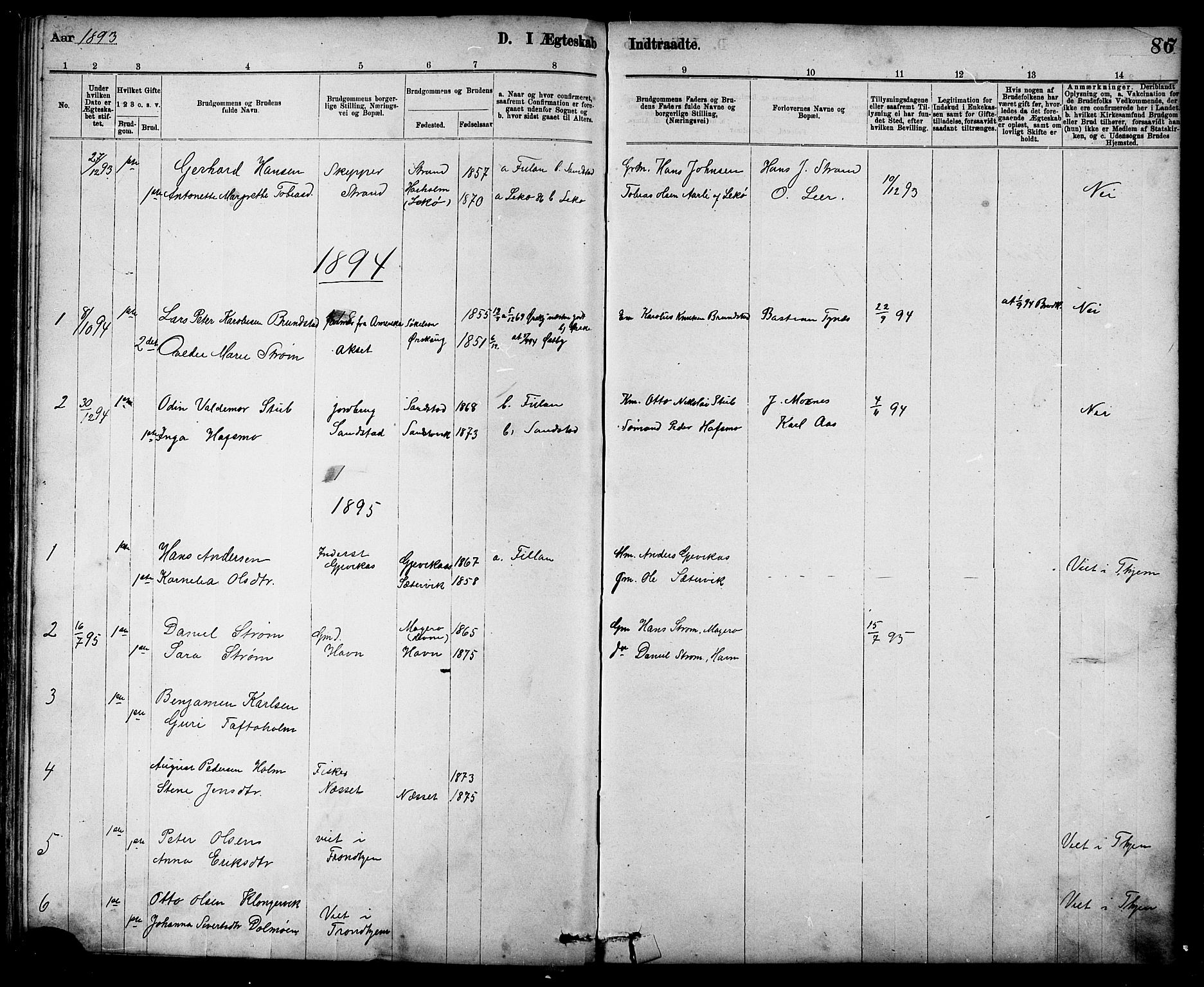 SAT, Ministerialprotokoller, klokkerbøker og fødselsregistre - Sør-Trøndelag, 639/L0573: Klokkerbok nr. 639C01, 1890-1905, s. 86