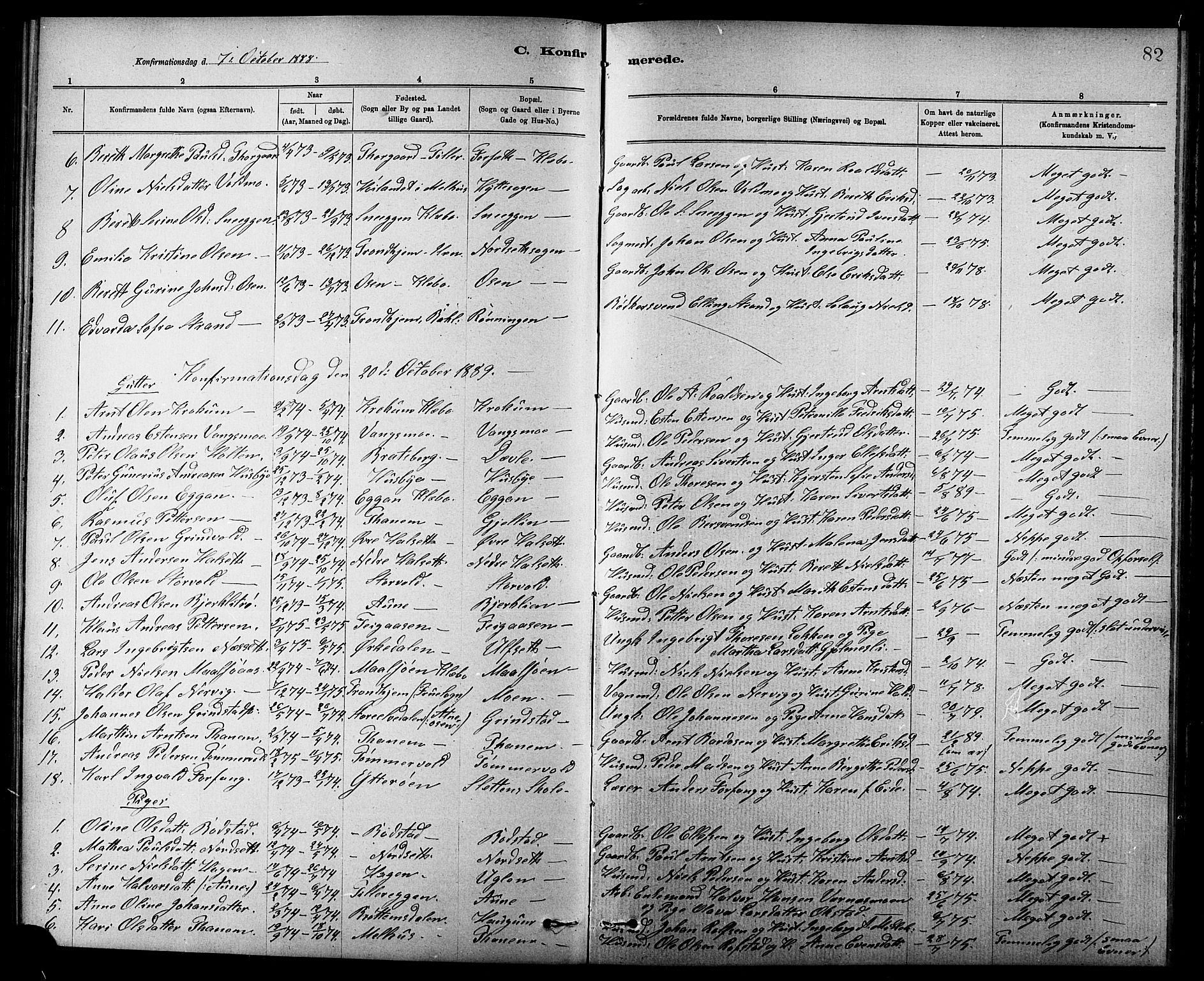 SAT, Ministerialprotokoller, klokkerbøker og fødselsregistre - Sør-Trøndelag, 618/L0452: Klokkerbok nr. 618C03, 1884-1906, s. 82