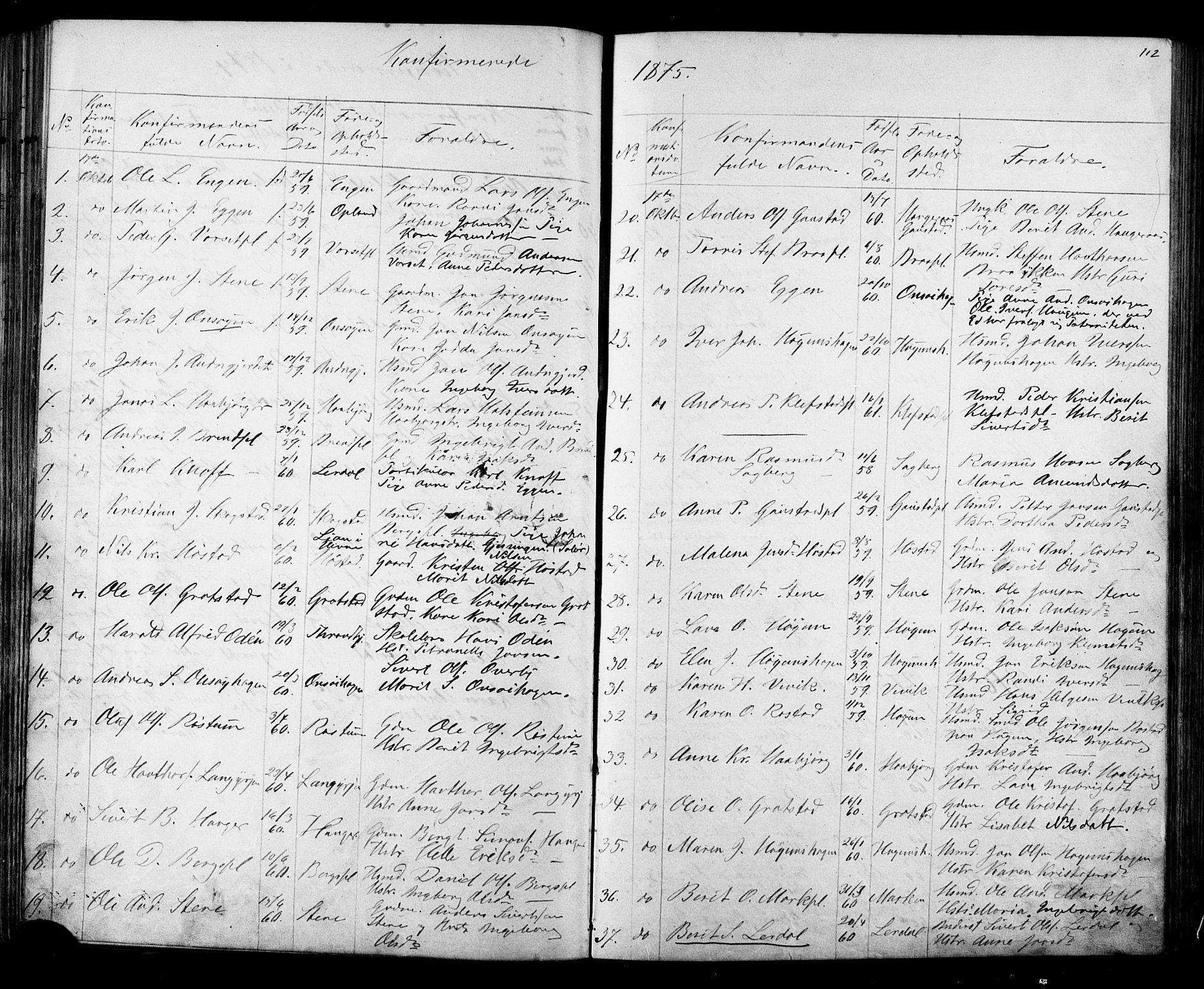 SAT, Ministerialprotokoller, klokkerbøker og fødselsregistre - Sør-Trøndelag, 612/L0387: Klokkerbok nr. 612C03, 1874-1908, s. 112