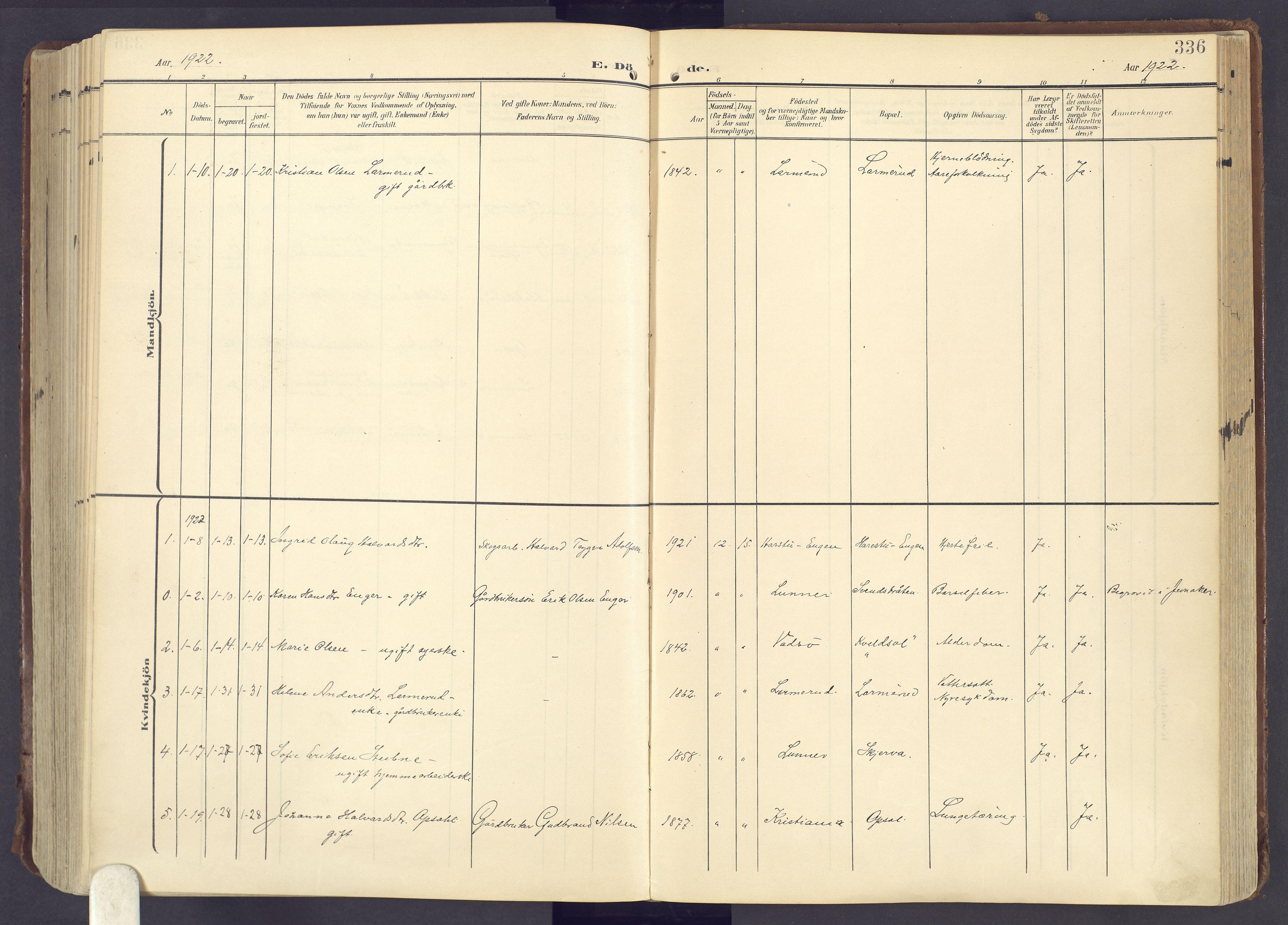 SAH, Lunner prestekontor, H/Ha/Haa/L0001: Ministerialbok nr. 1, 1907-1922, s. 336
