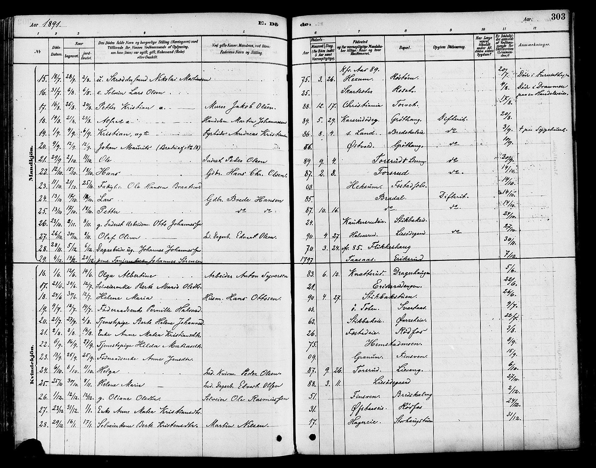SAH, Vestre Toten prestekontor, H/Ha/Haa/L0009: Ministerialbok nr. 9, 1878-1894, s. 303