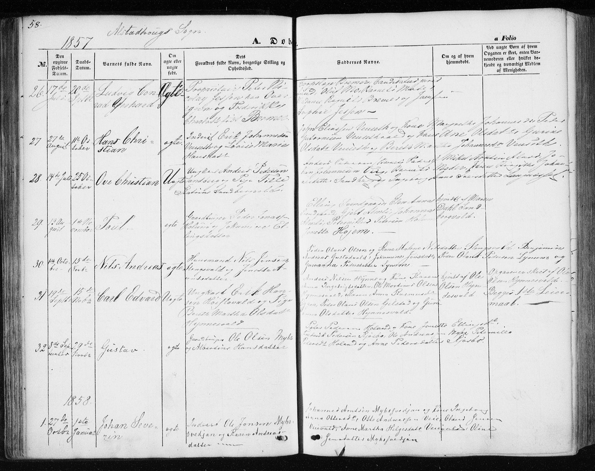 SAT, Ministerialprotokoller, klokkerbøker og fødselsregistre - Nord-Trøndelag, 717/L0154: Ministerialbok nr. 717A07 /1, 1850-1862, s. 58