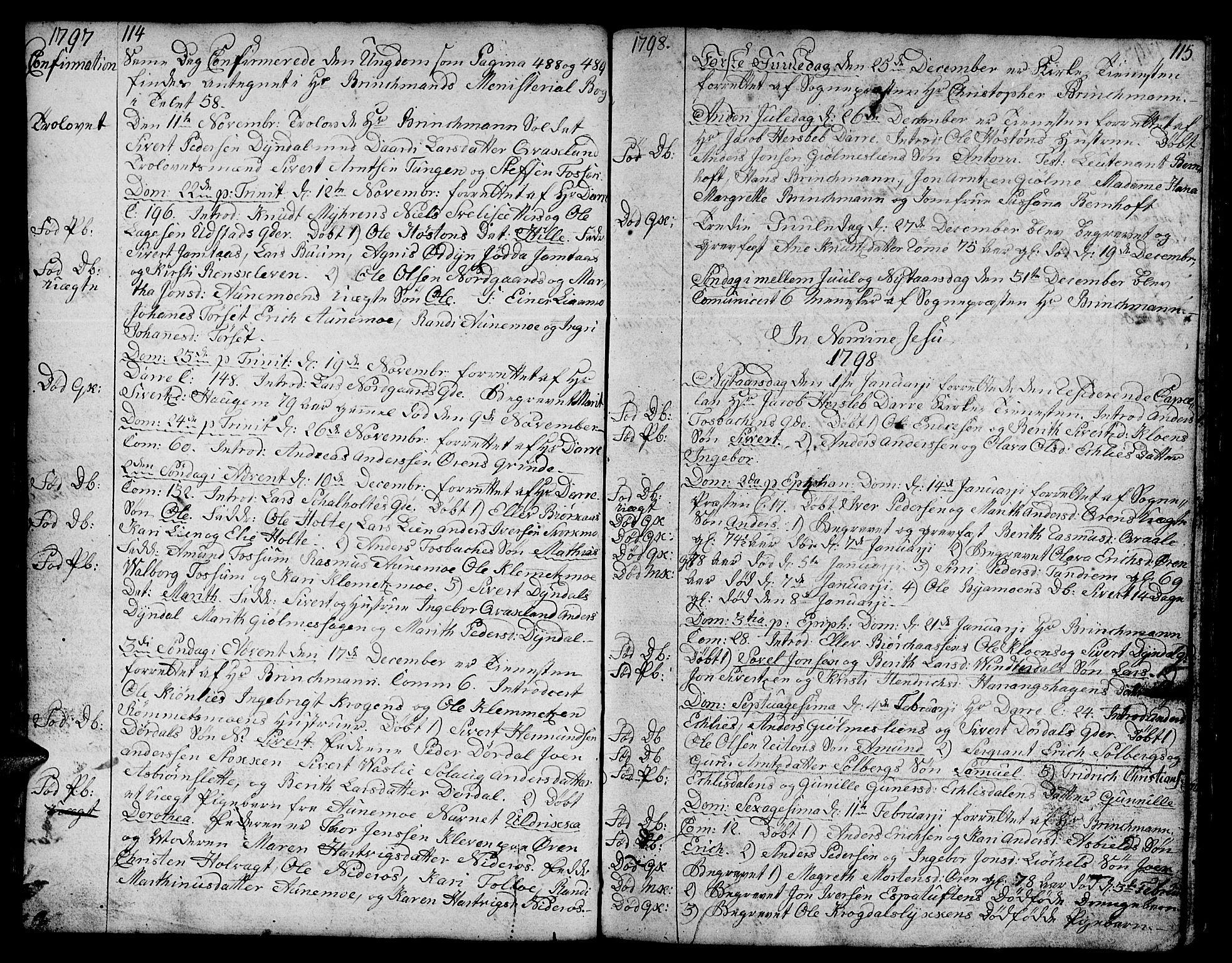 SAT, Ministerialprotokoller, klokkerbøker og fødselsregistre - Sør-Trøndelag, 668/L0815: Klokkerbok nr. 668C04, 1791-1815, s. 114-115