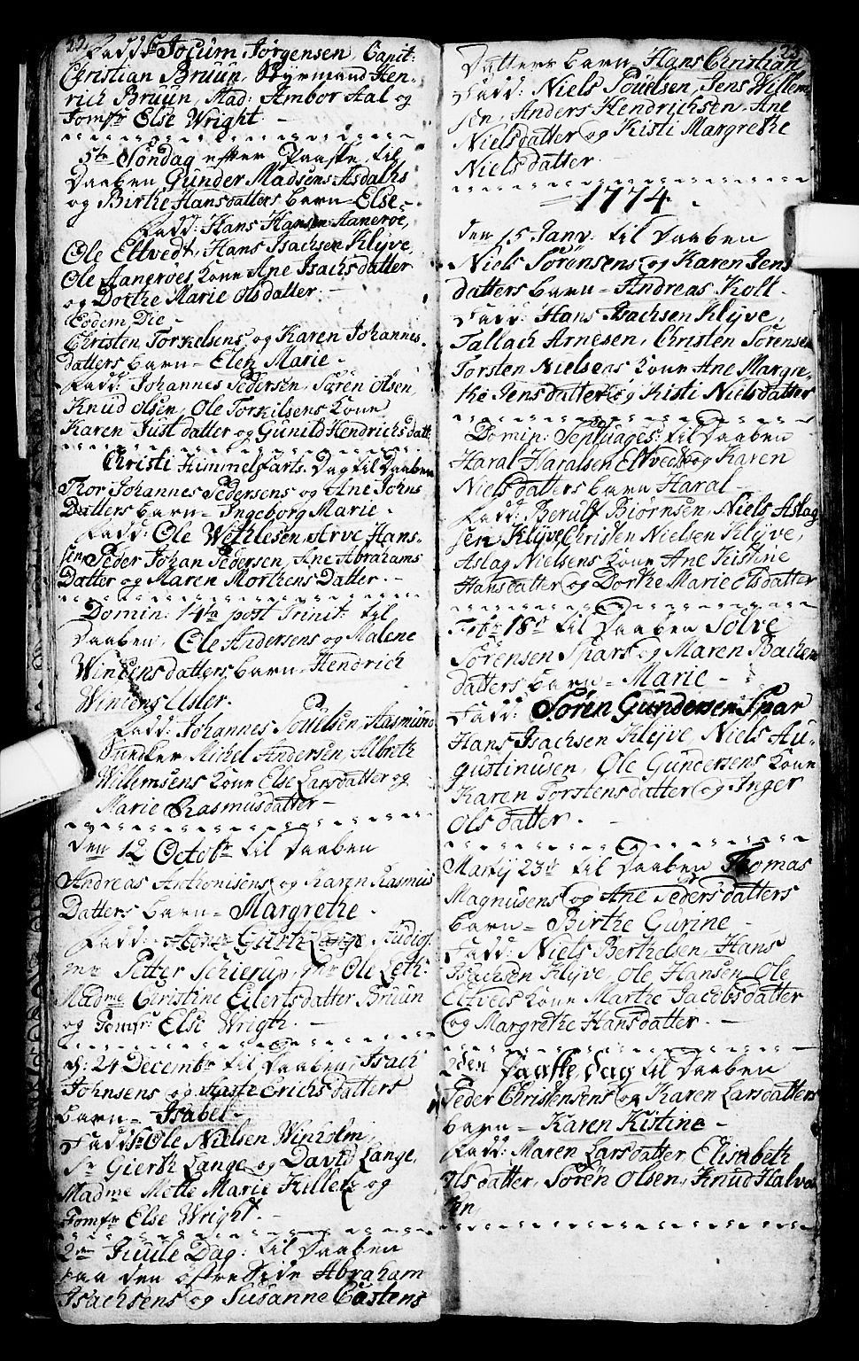 SAKO, Porsgrunn kirkebøker , G/Ga/L0001: Klokkerbok nr. I 1, 1766-1790, s. 22-23