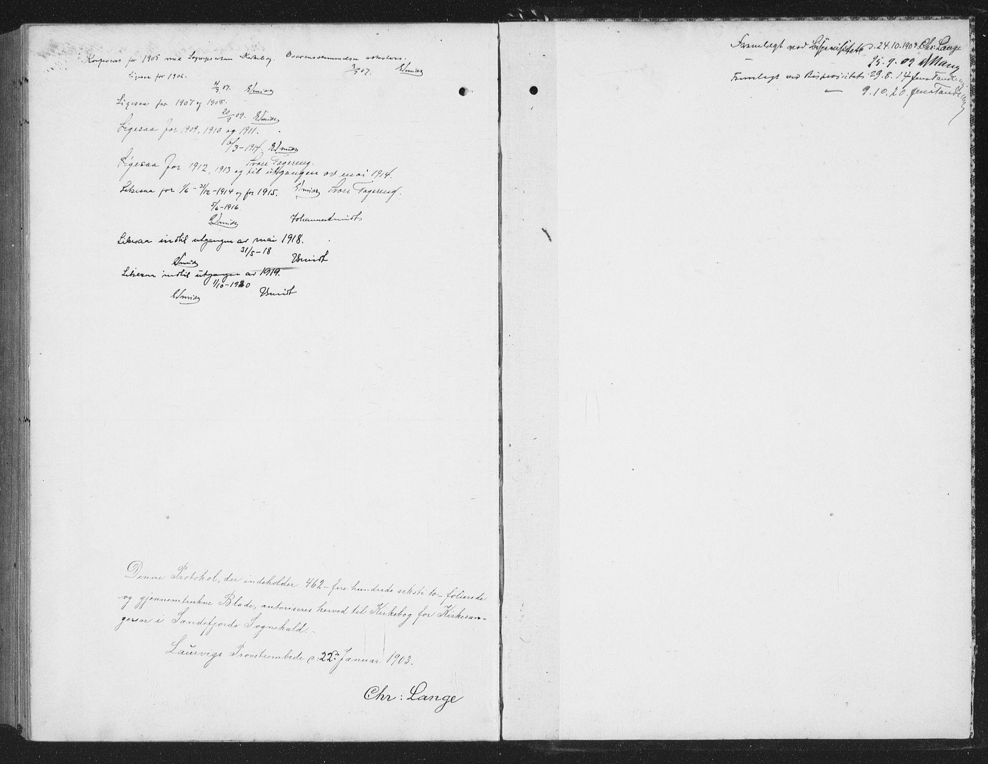 SAKO, Sandefjord kirkebøker, G/Ga/L0003: Klokkerbok nr. 3, 1903-1920