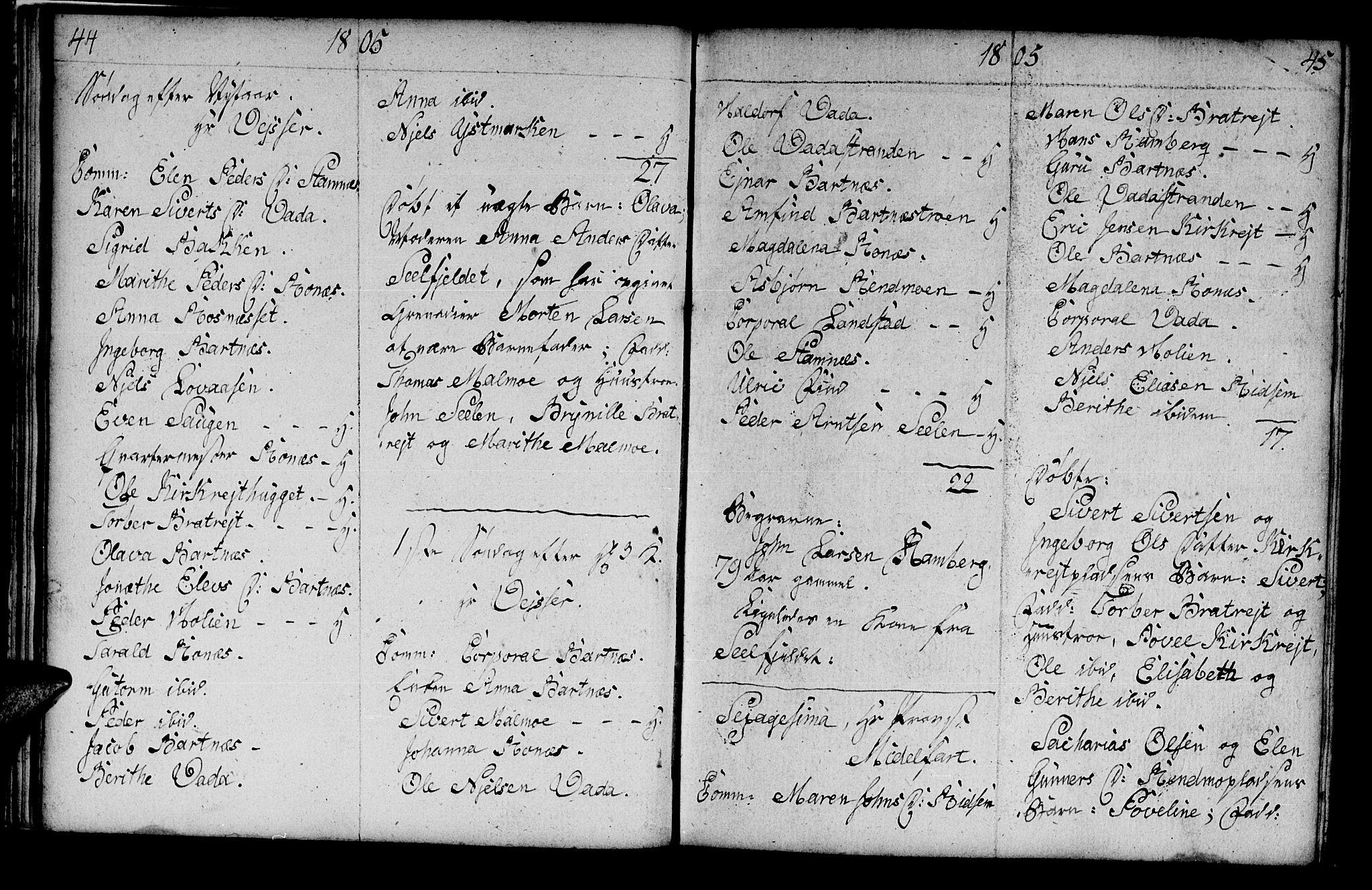 SAT, Ministerialprotokoller, klokkerbøker og fødselsregistre - Nord-Trøndelag, 745/L0432: Klokkerbok nr. 745C01, 1802-1814, s. 44-45
