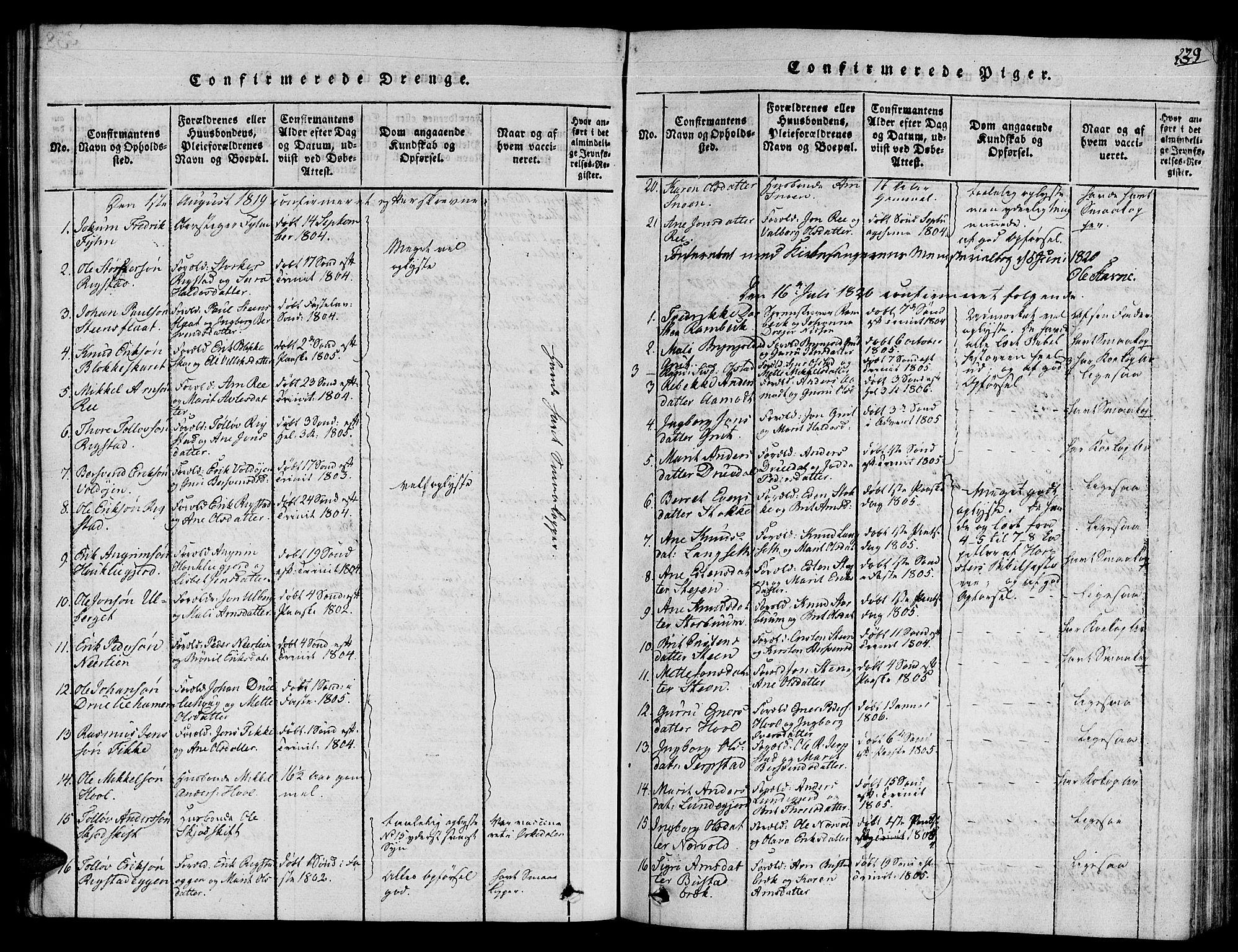 SAT, Ministerialprotokoller, klokkerbøker og fødselsregistre - Sør-Trøndelag, 672/L0853: Ministerialbok nr. 672A06 /1, 1816-1829, s. 239