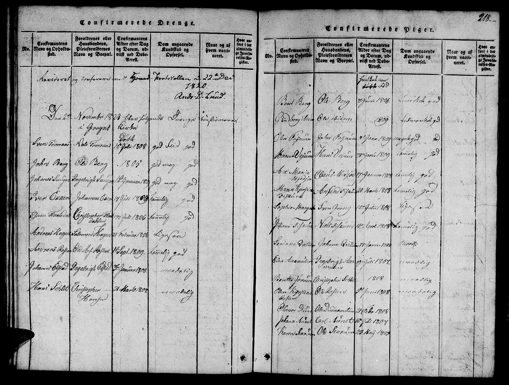 SAT, Ministerialprotokoller, klokkerbøker og fødselsregistre - Nord-Trøndelag, 758/L0521: Klokkerbok nr. 758C01, 1816-1825, s. 218