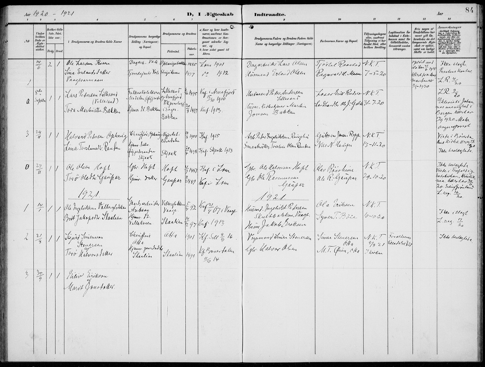 SAH, Lom prestekontor, L/L0007: Klokkerbok nr. 7, 1904-1938, s. 84