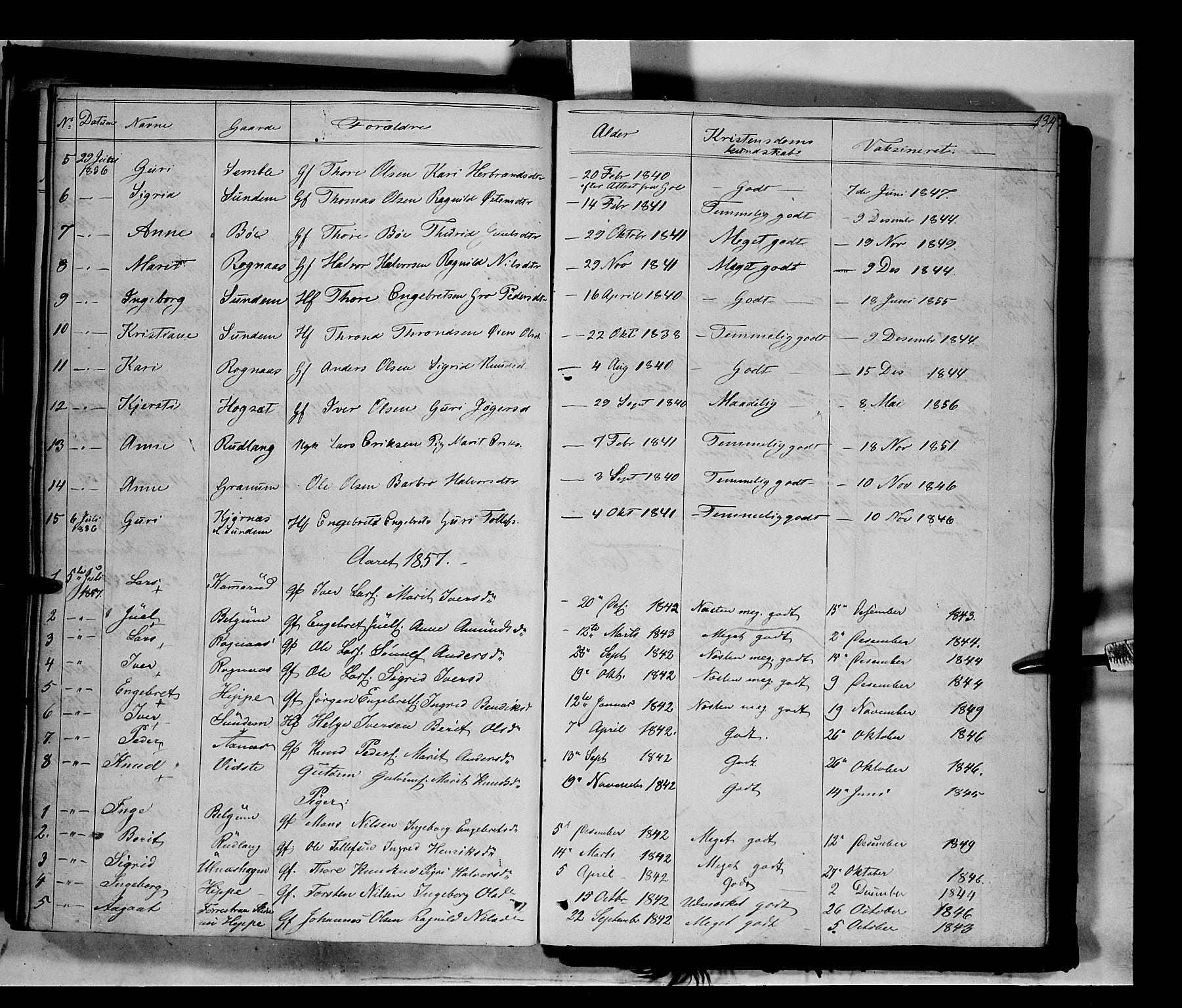SAH, Nord-Aurdal prestekontor, Ministerialbok nr. 6, 1842-1863, s. 134