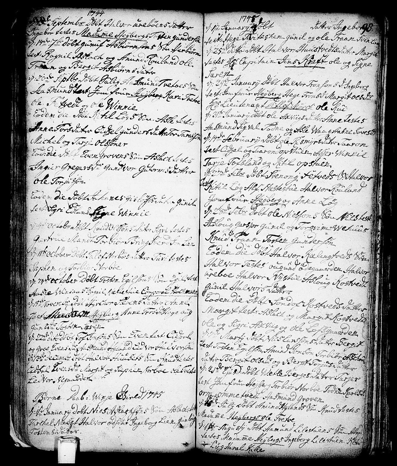 SAKO, Vinje kirkebøker, F/Fa/L0001: Ministerialbok nr. I 1, 1717-1766, s. 98