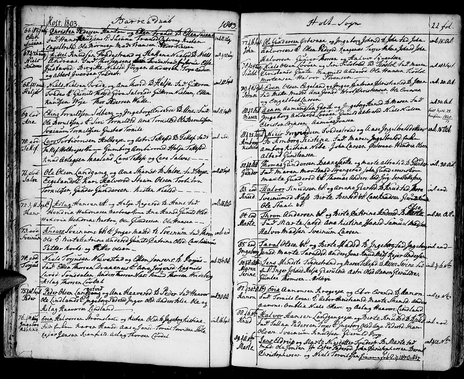 SAK, Holt sokneprestkontor, F/Fa/L0004: Ministerialbok nr. A 4, 1799-1813, s. 22