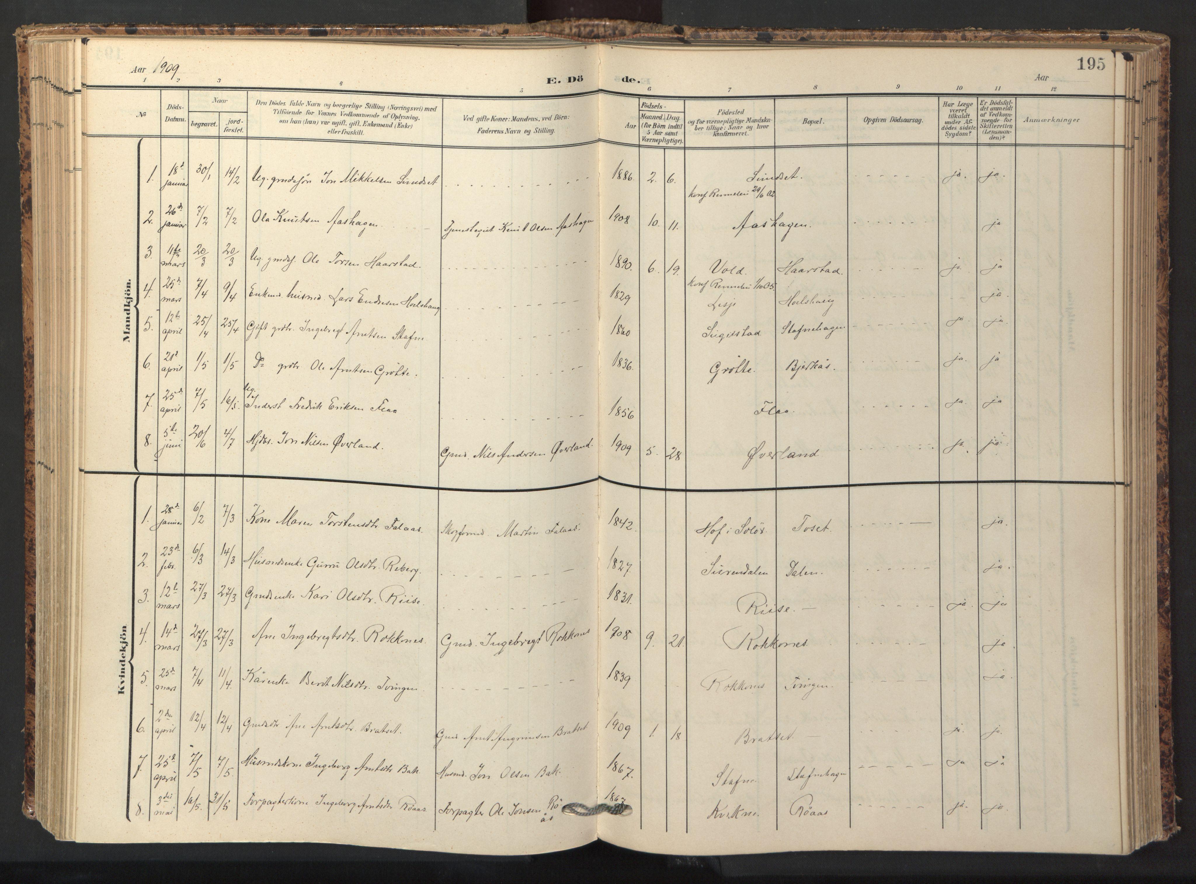 SAT, Ministerialprotokoller, klokkerbøker og fødselsregistre - Sør-Trøndelag, 674/L0873: Ministerialbok nr. 674A05, 1908-1923, s. 195