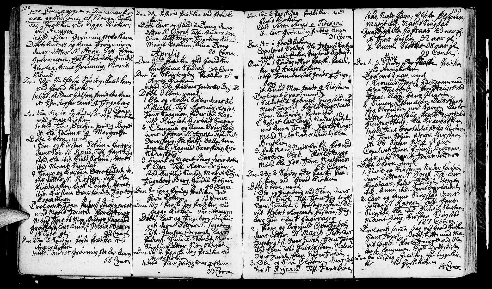 SAT, Ministerialprotokoller, klokkerbøker og fødselsregistre - Sør-Trøndelag, 646/L0604: Ministerialbok nr. 646A02, 1735-1750, s. 108-109