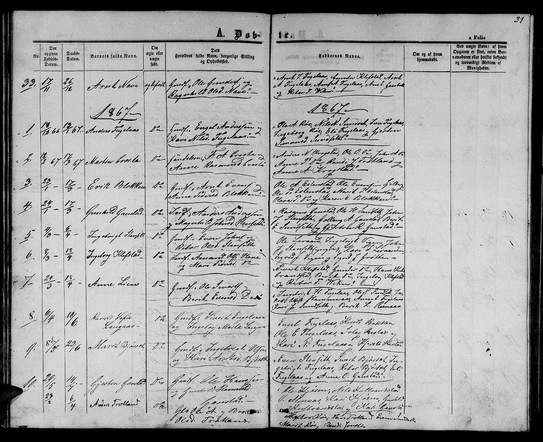 SAT, Ministerialprotokoller, klokkerbøker og fødselsregistre - Sør-Trøndelag, 694/L1131: Klokkerbok nr. 694C03, 1858-1886, s. 31