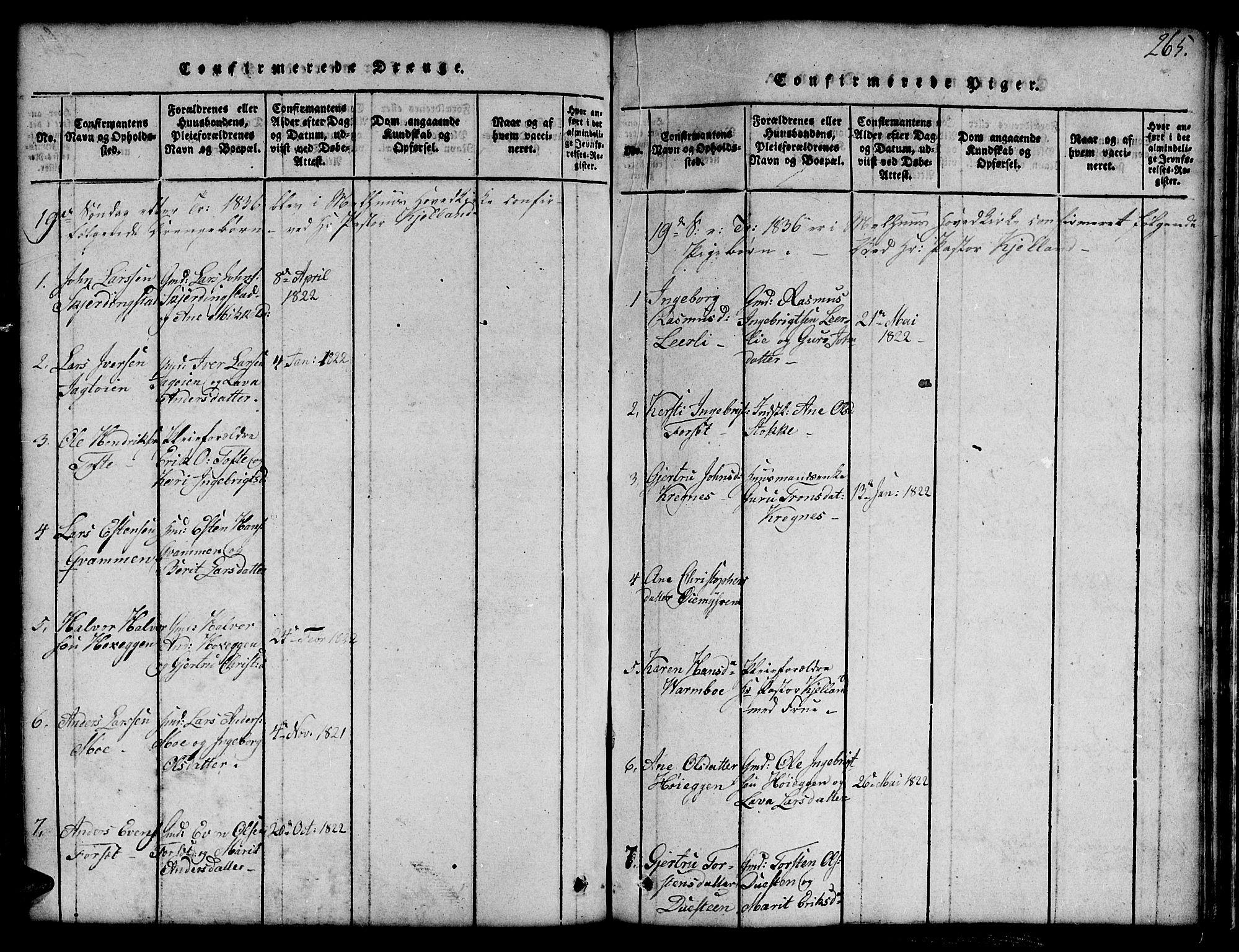 SAT, Ministerialprotokoller, klokkerbøker og fødselsregistre - Sør-Trøndelag, 691/L1092: Klokkerbok nr. 691C03, 1816-1852, s. 265