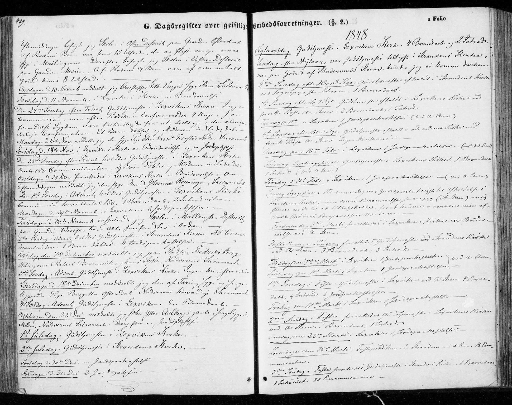 SAT, Ministerialprotokoller, klokkerbøker og fødselsregistre - Nord-Trøndelag, 701/L0007: Ministerialbok nr. 701A07 /1, 1842-1854, s. 429
