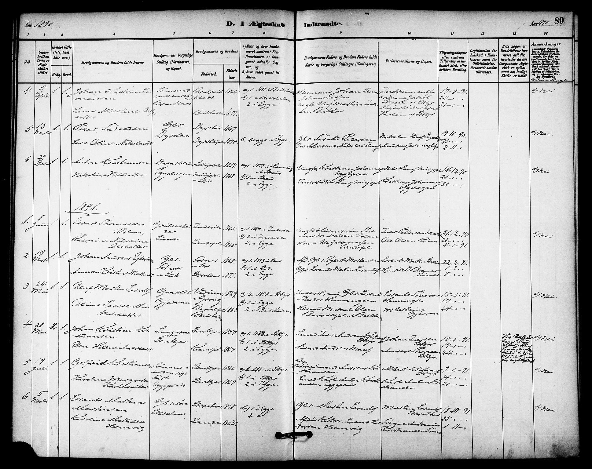 SAT, Ministerialprotokoller, klokkerbøker og fødselsregistre - Nord-Trøndelag, 740/L0378: Ministerialbok nr. 740A01, 1881-1895, s. 89